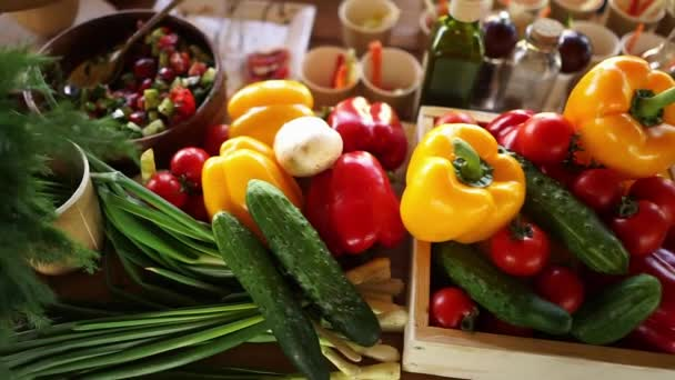 Bright background of set vegetables. table with fresh vegetables.