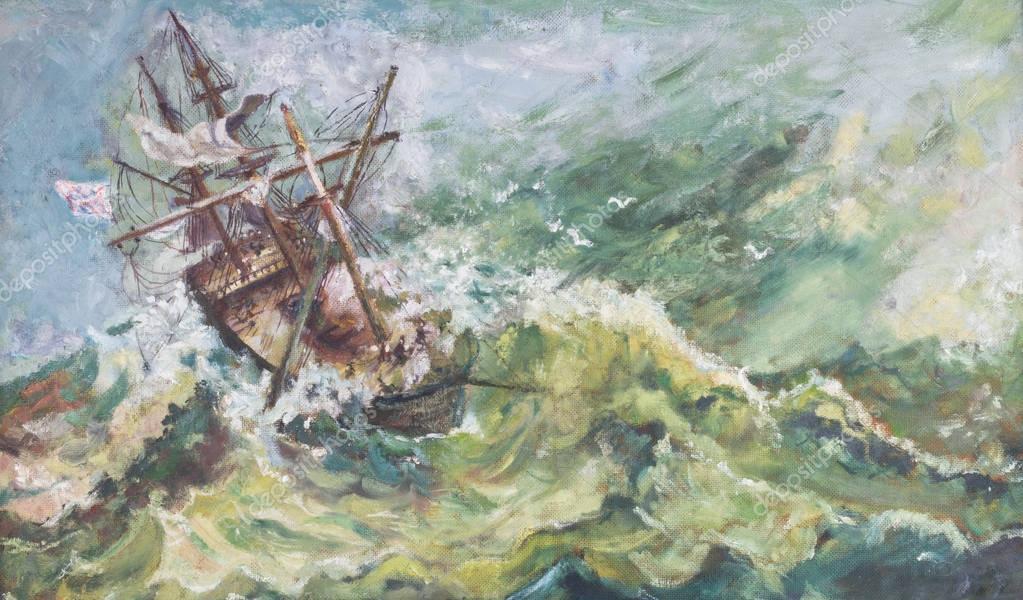 Old Vintage Nautical Coastal Landscape Oil Ship Painting