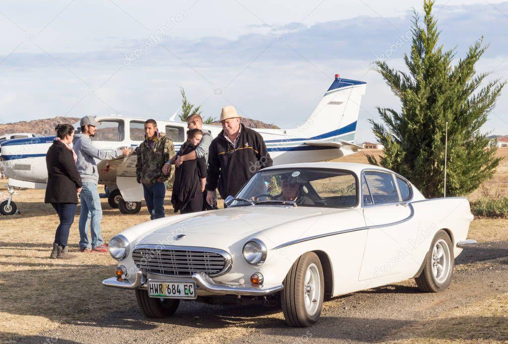 QUEENSTOWN, SOUTH AFRICA - 17 June 2017: Vintage Volvo P1800 car