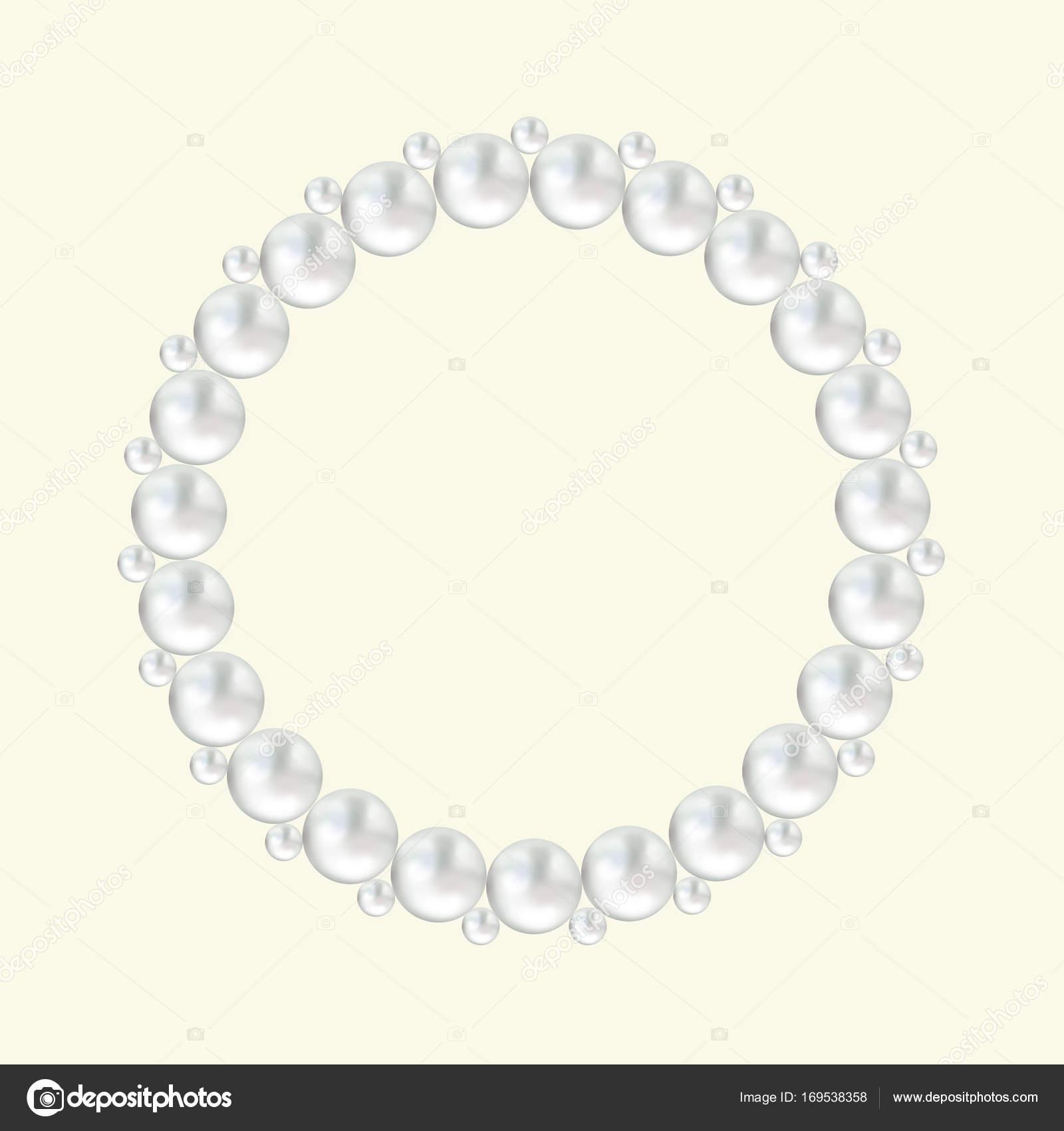 Weiße Perle Perle runder Rahmen auf cremefarbenen Hintergrund ...