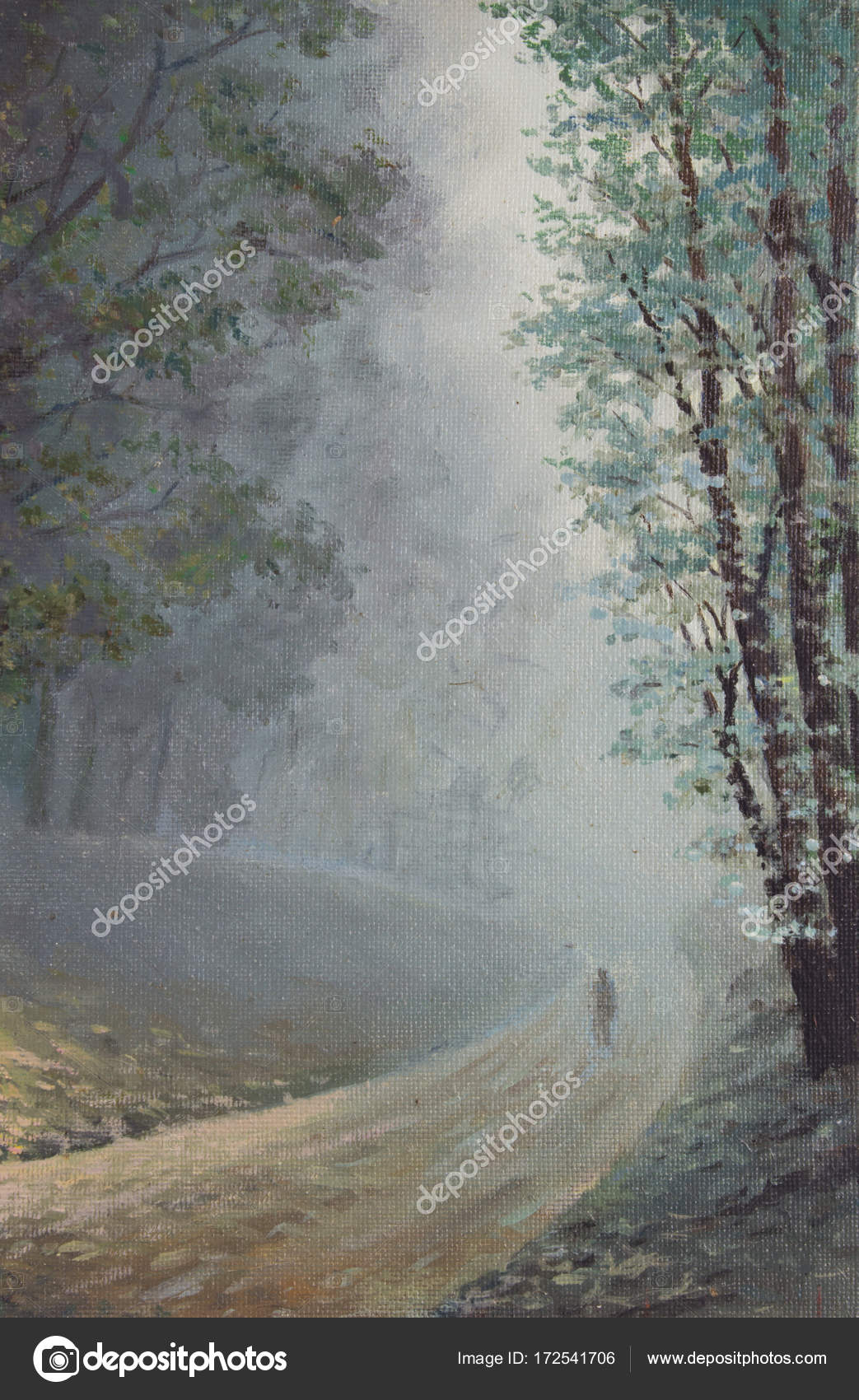 Lonely Forest Road Painting
