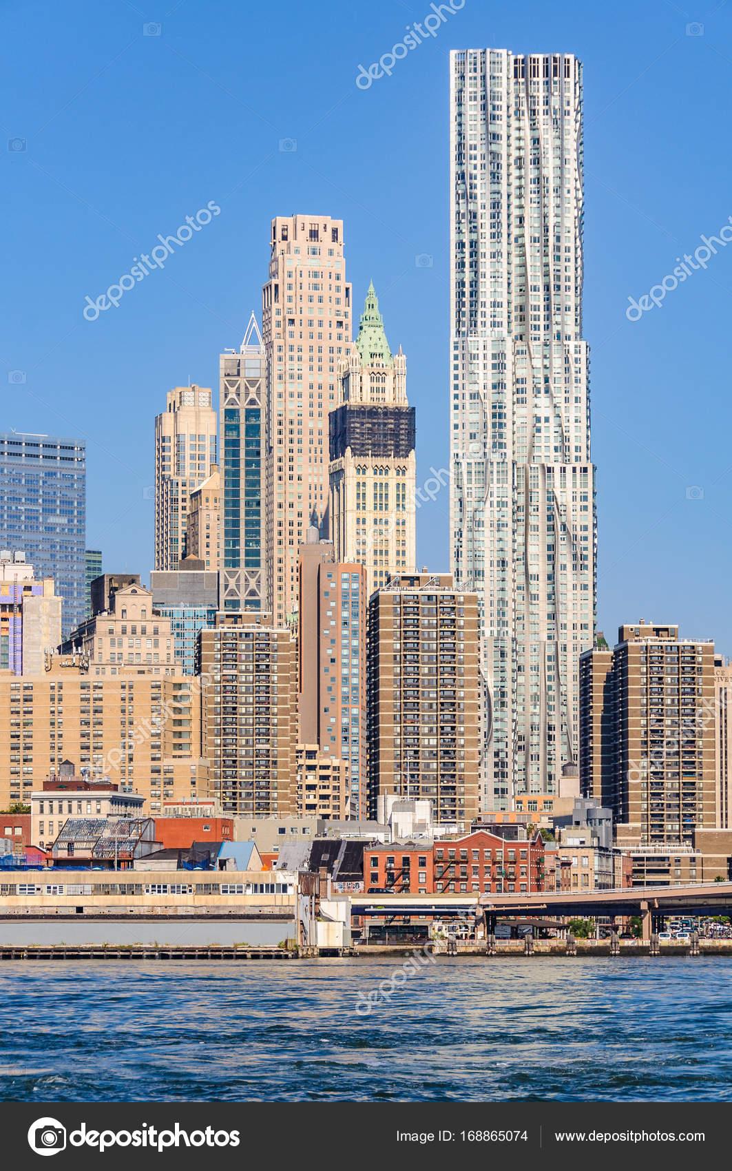 Skyscrapers In Lower Manhattan From Brooklyn Bridge Park
