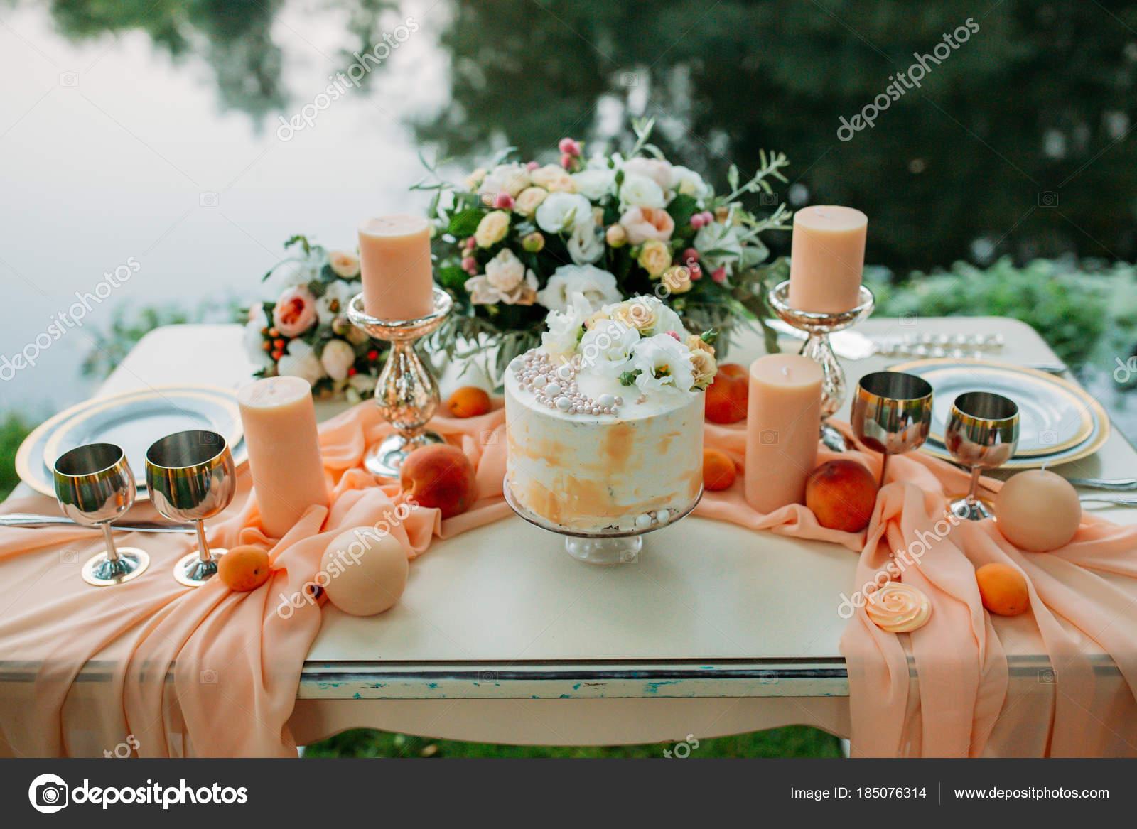 Wedding Table Decoration Romantic Dinner River Stock Photo C Dimadasha 185076314