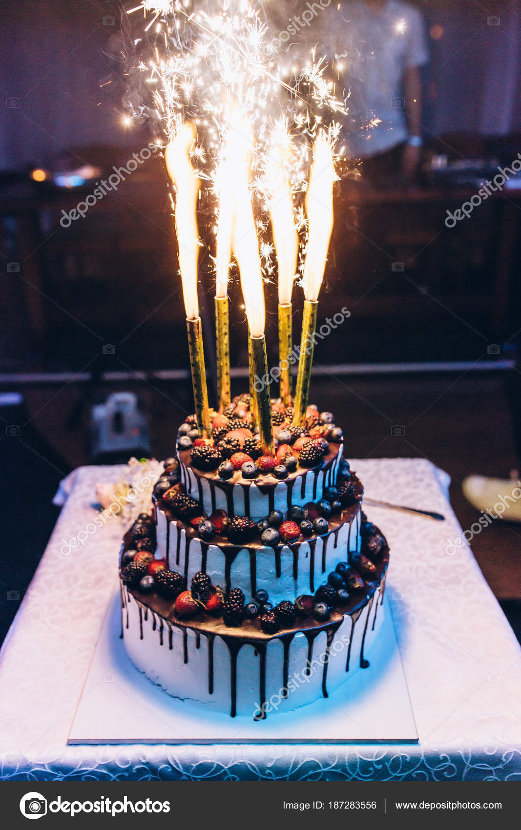Cool Beautiful Wedding Cake Fruits Fireworks Stock Photo C Dimadasha Funny Birthday Cards Online Bapapcheapnameinfo