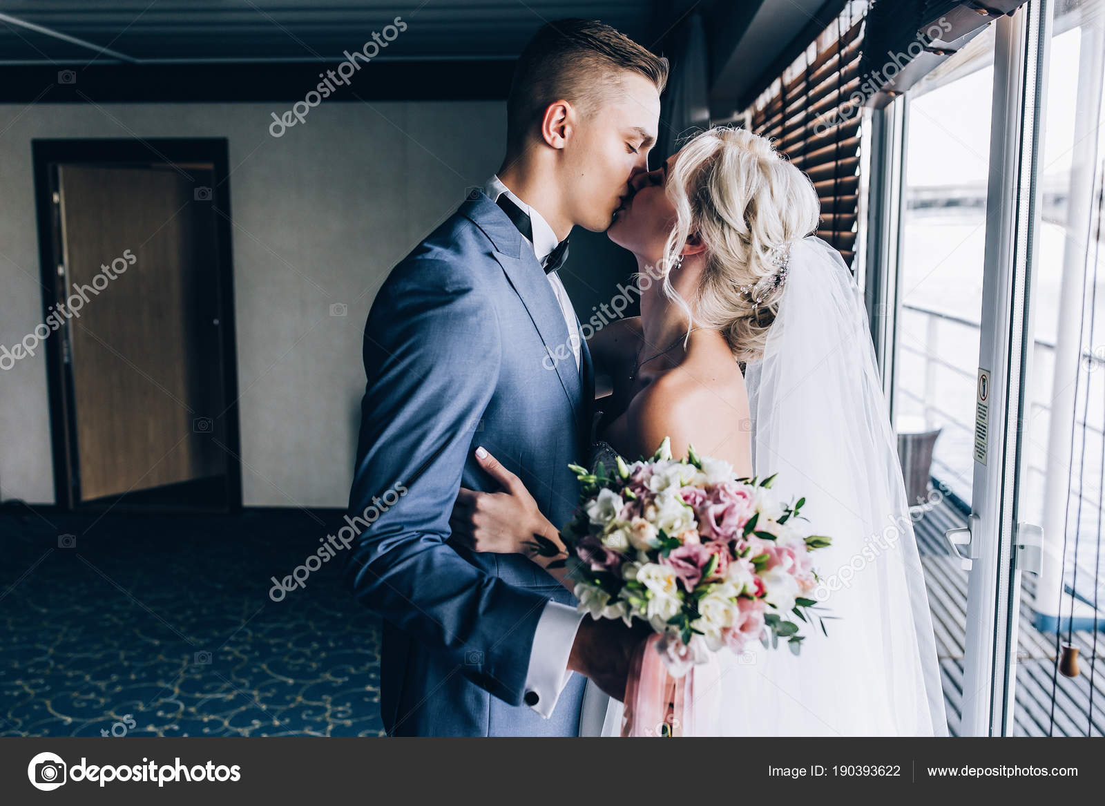 bride groom congratulate each other meeting newlyweds stock photo