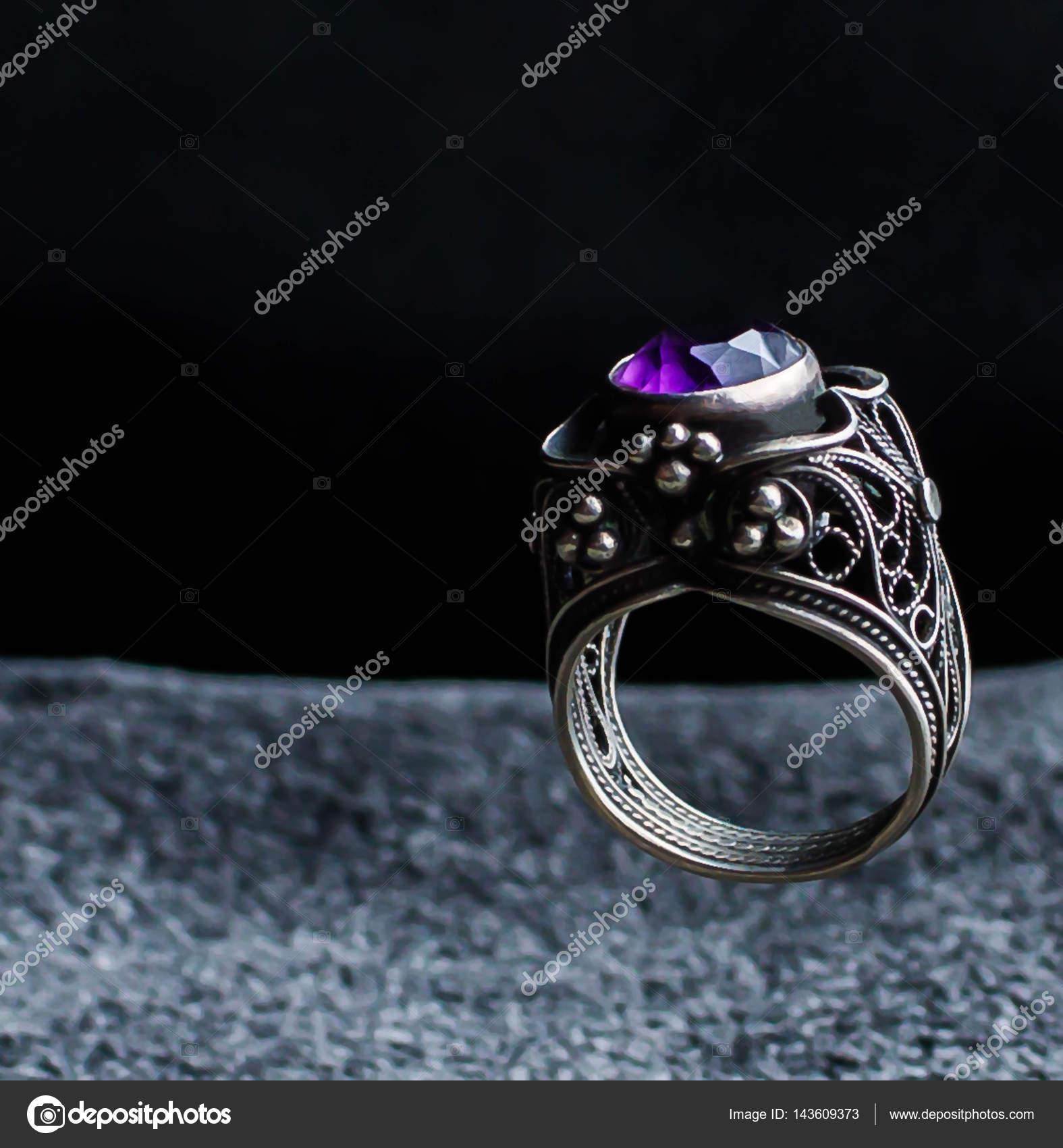 Fioletowy Ametyst Poszewka Wyciąć Moda Biżuteria Pierścionek
