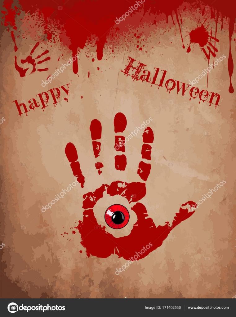 Blutige Hand Druck mit roten Augen innen auf dem alten ...
