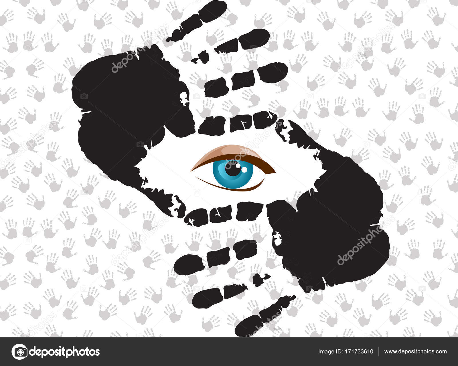 Ojos azules mirando a través del marco de la mano — Archivo Imágenes ...