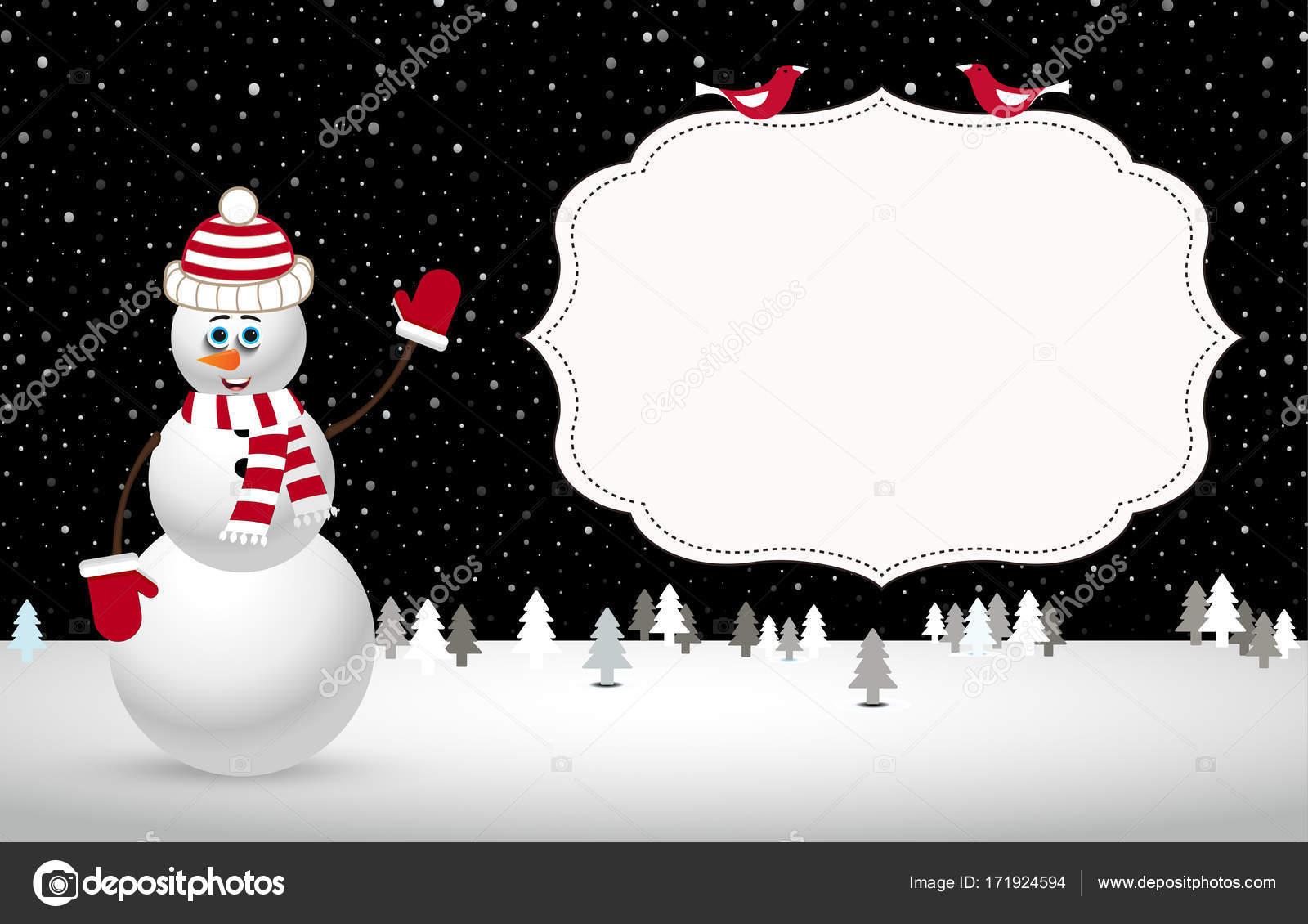 Paisaje de noche de Navidad con muñeco de nieve. Ilustración de ...
