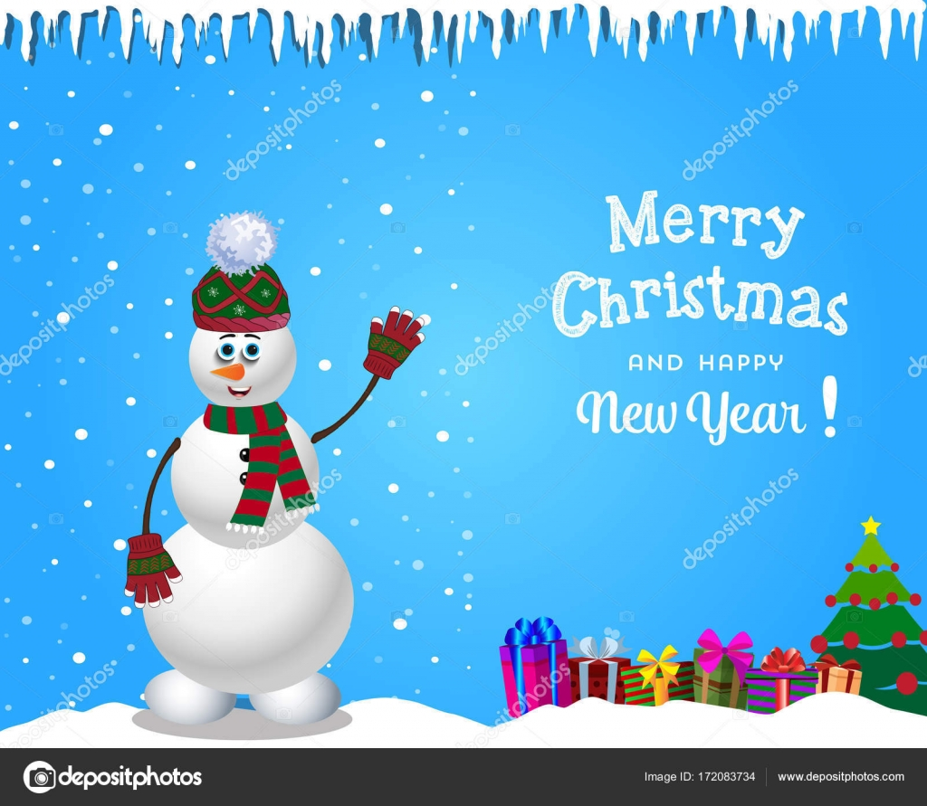 christmas and new year card with cute cartoon snowman in knitted hat and striped scarf and gifts on blue snowy background with icicles