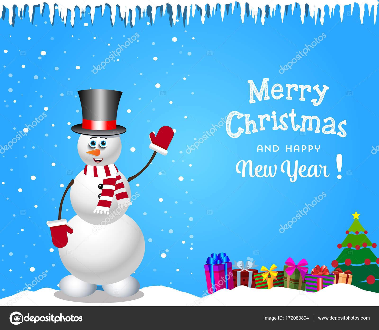 15b8b17d6f7 Vánoční a novoroční karta s hezký sněhulák v válcový klobouk a dárky —  Stockový vektor