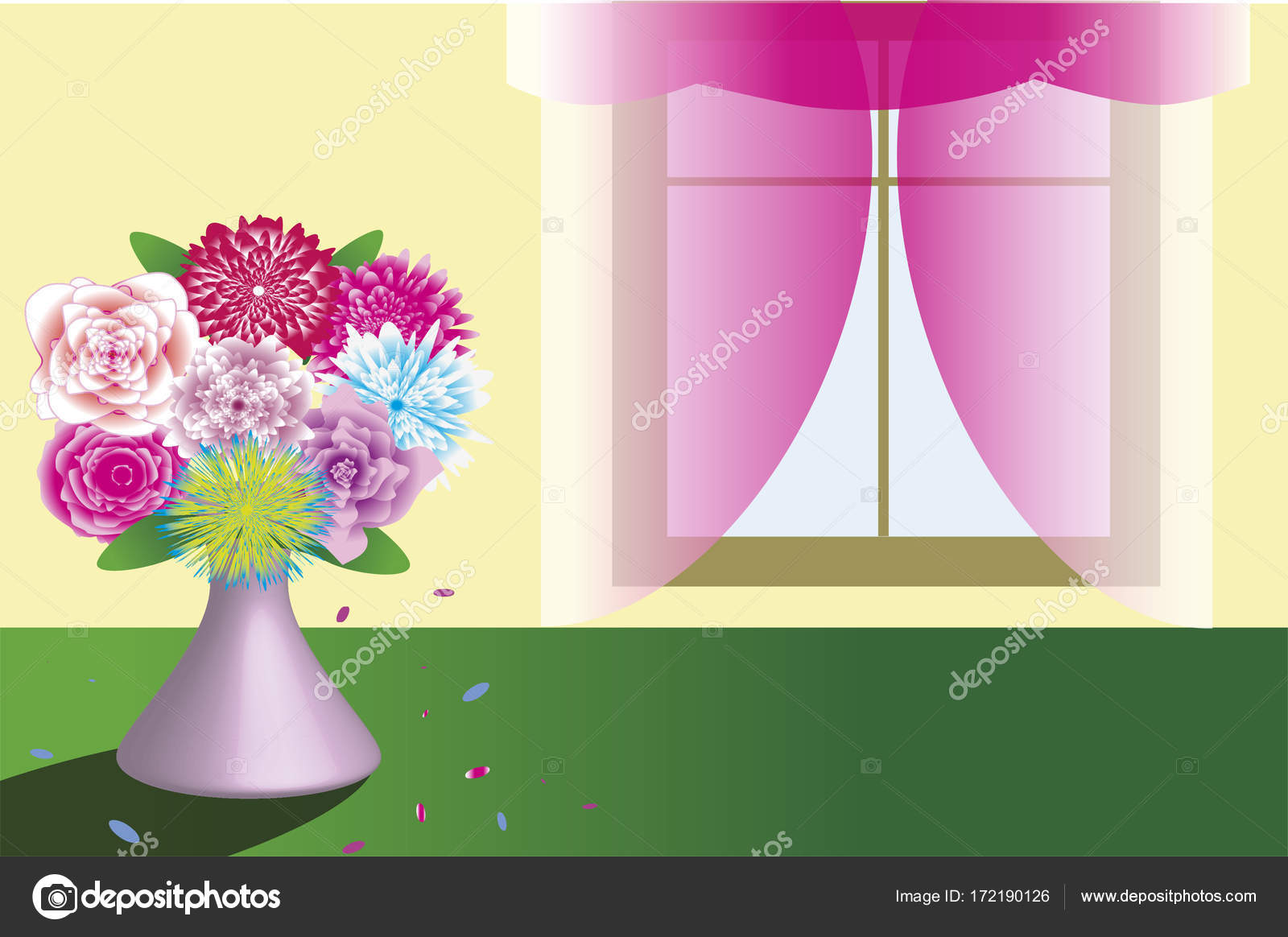 Beautiful Bouquet In Vase Standing Near The Window Template Stock