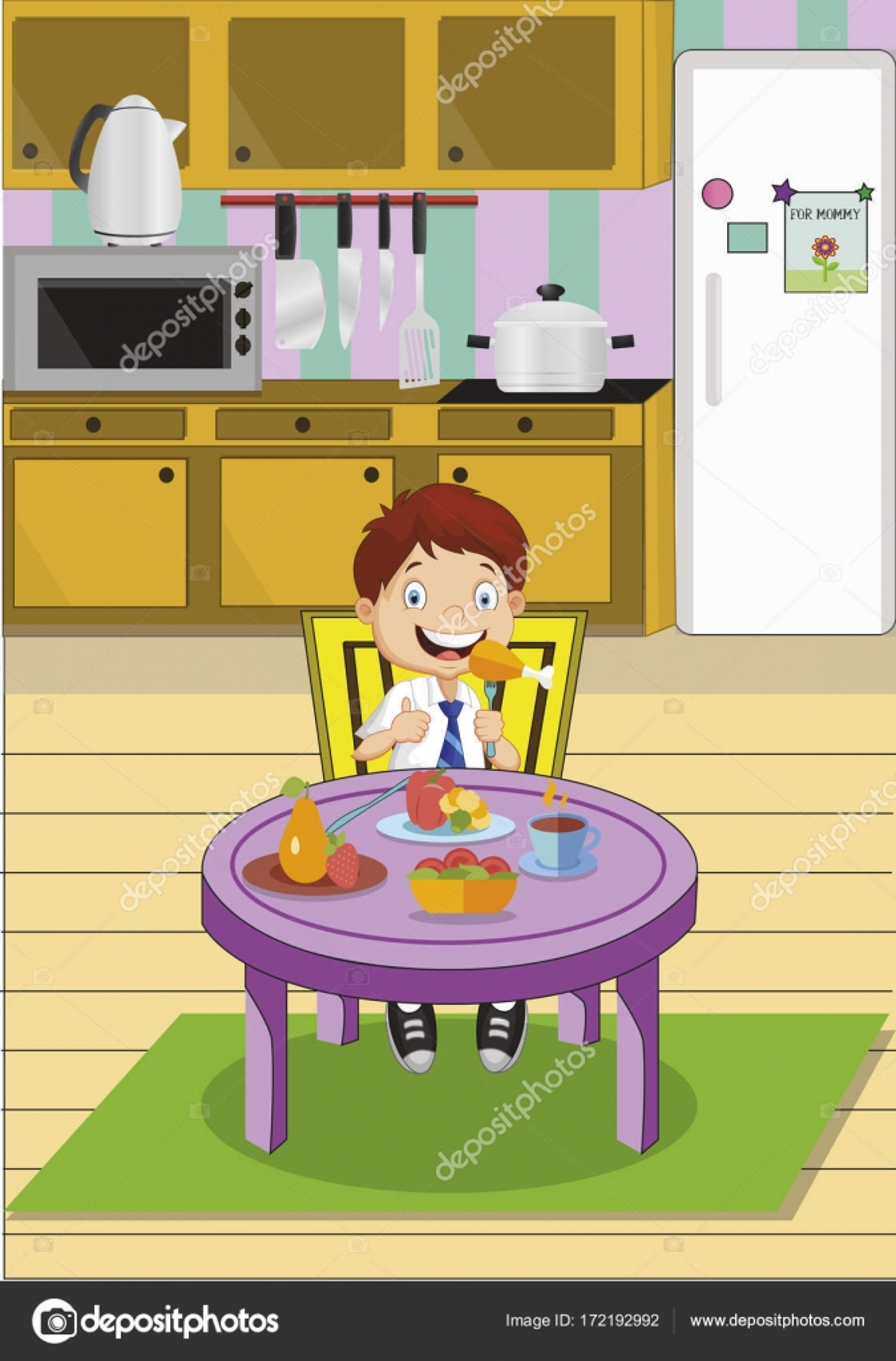 Niño de dibujos animados escuela comer el almuerzo sentados ...