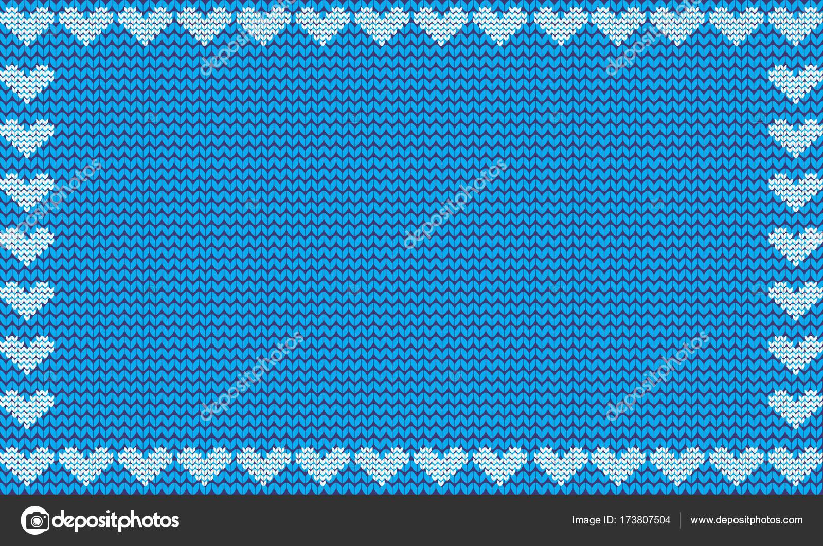 Hellblauer Stoff gestrickt Hintergrund umrahmt mit Stricken Herzen ...