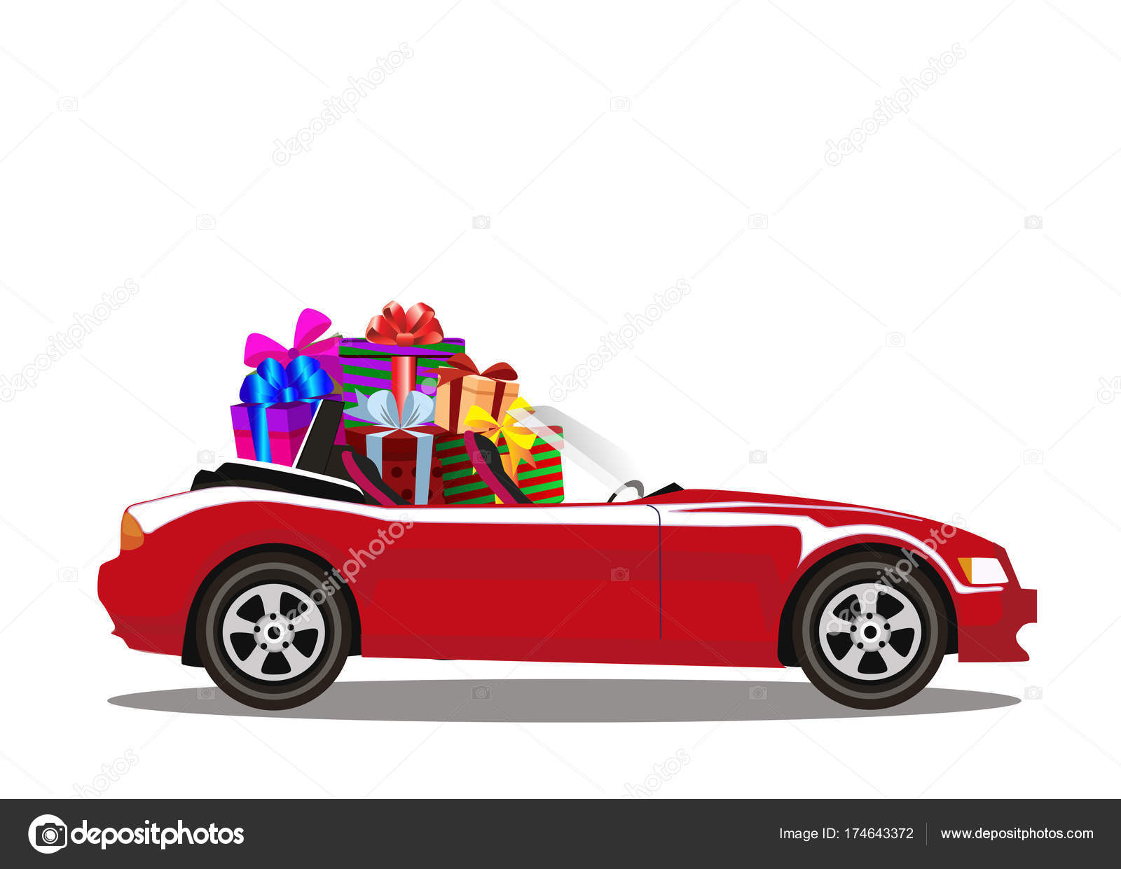 Red Modern Cartoon Cabriolet Car Full Of Gift Boxes Isolated On Stock Vector C Katarepsius 174643372
