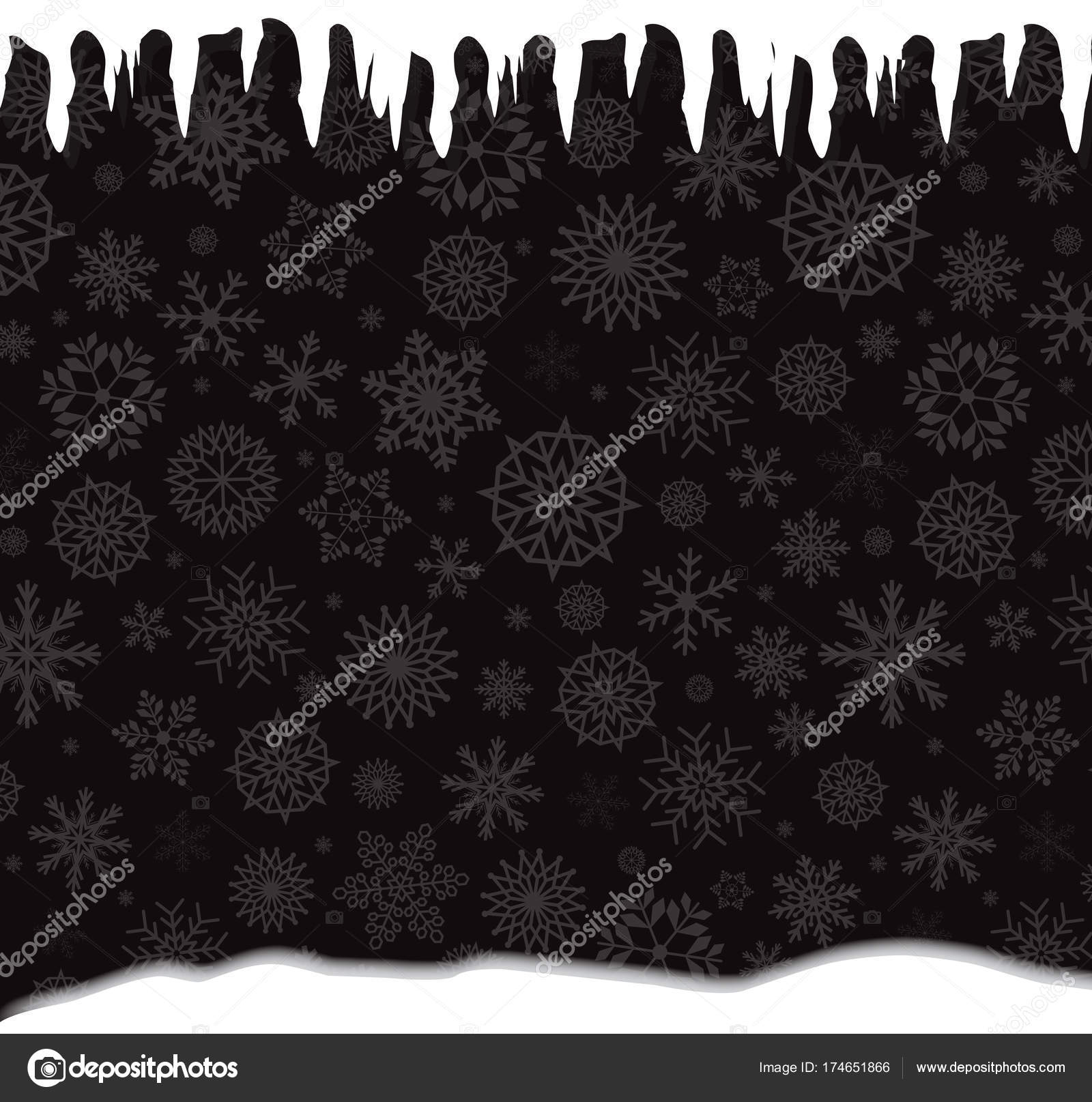 winter template with falling silver snowflakes icicles and snow