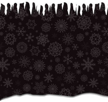 Winter template with falling silver snowflakes, icicles and snow
