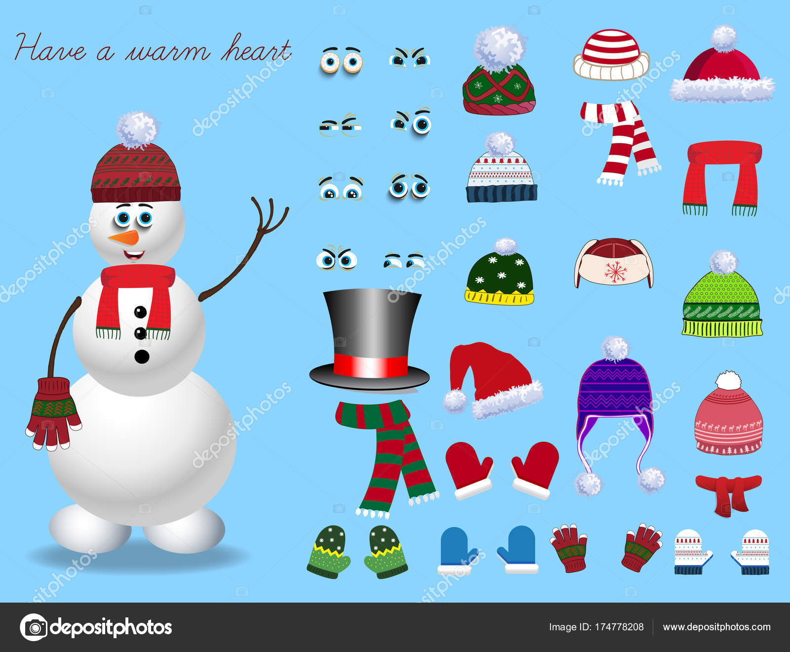 2ffd104285d2 Για τη δημιουργία κινουμένων σχεδίων χαριτωμένο χιονάνθρωπος χαρακτήρα–  εικονογράφηση αρχείου