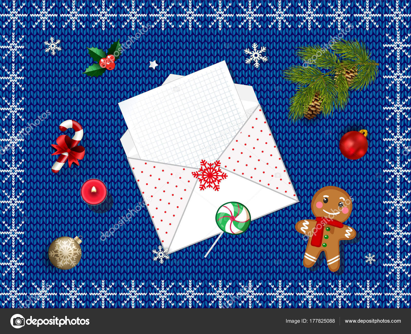 Mpty letter to santa claus on blue fabric knitted background stock top view on empty letter to santa claus on blue fabric knitted background with christmas decoration xmas wish list with copy space spiritdancerdesigns Choice Image
