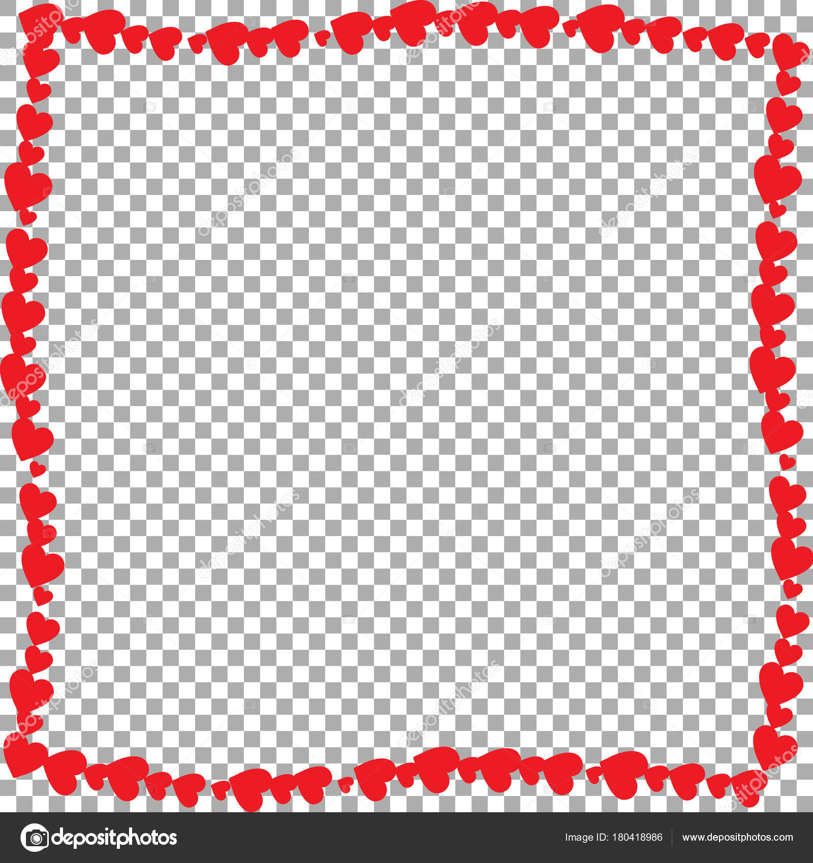 Love wavy frame made of cartoon red different sized hearts — Stock ...