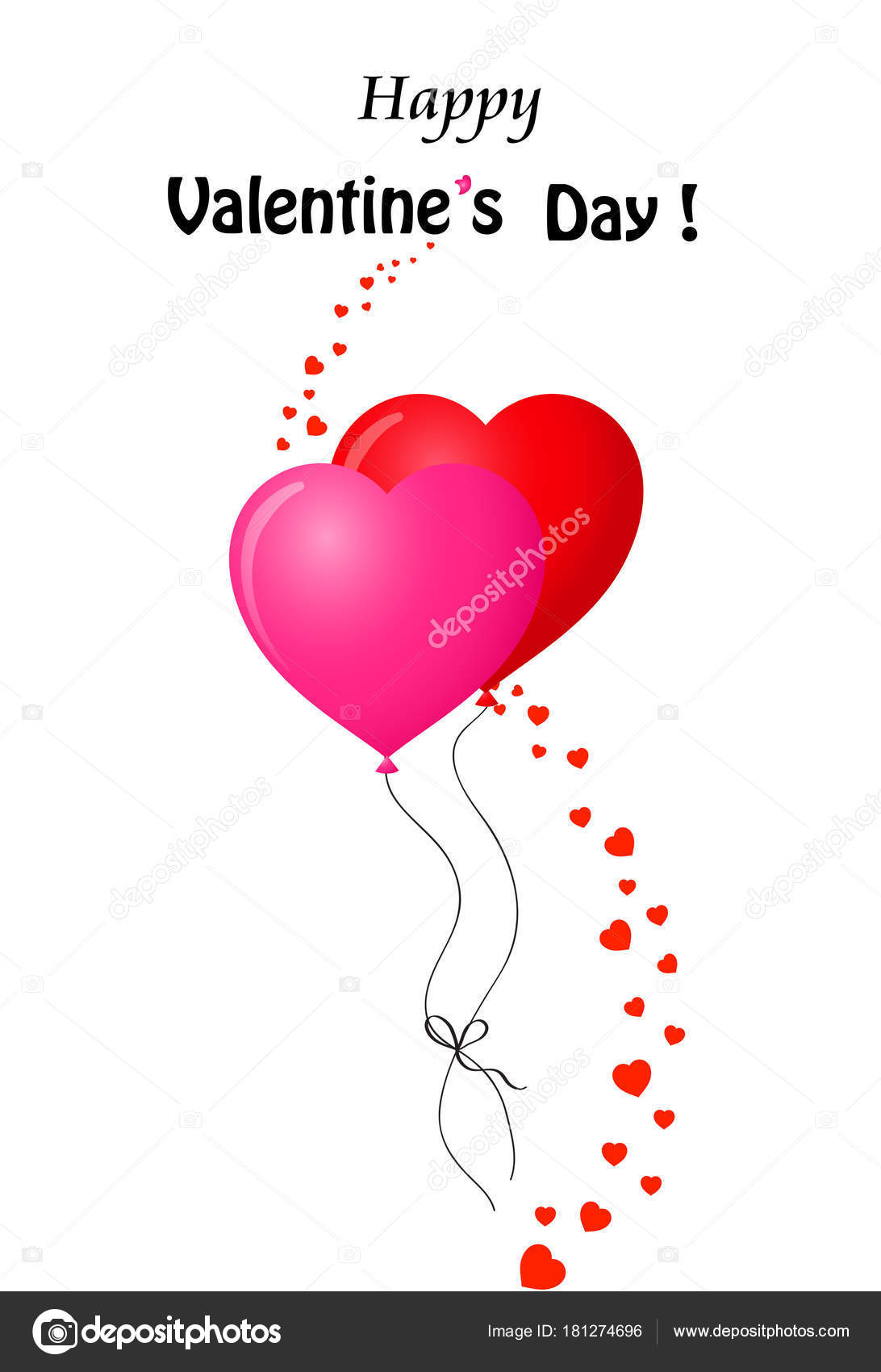 Valentines Greeting Card With Couple Of Red And Pink Heart Bal