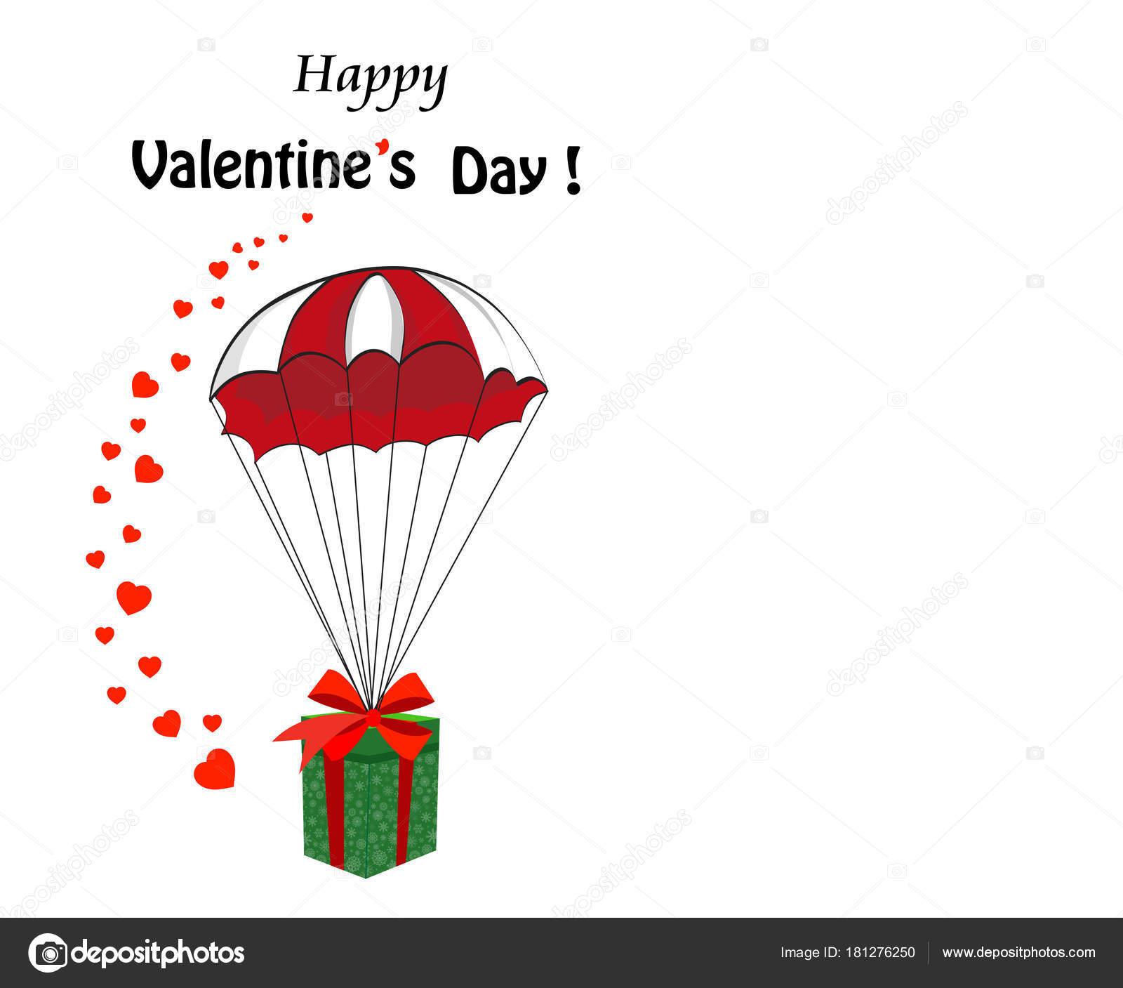 Valentinstag-Cartoon-Vorlage mit Geschenk fallen mit parach ...