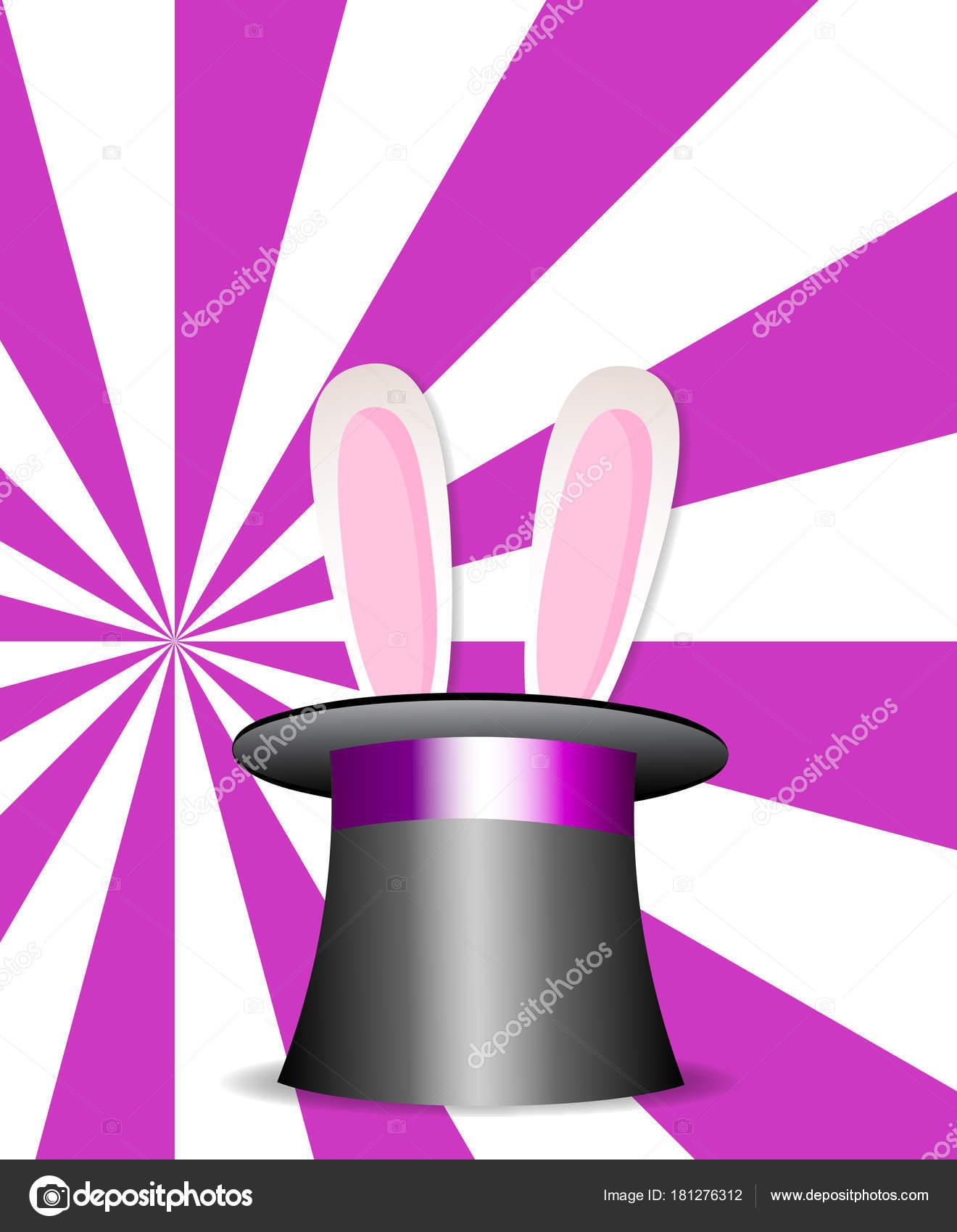 Magia sombrero con orejas de conejo en vibrante colores sunburst color rosa  y blanco los rayos de fondo. Cartel de la perfomance de show de magia. 34e82840eec