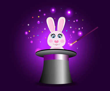 Bunny in magic hat with wand on violet sparkling glow background