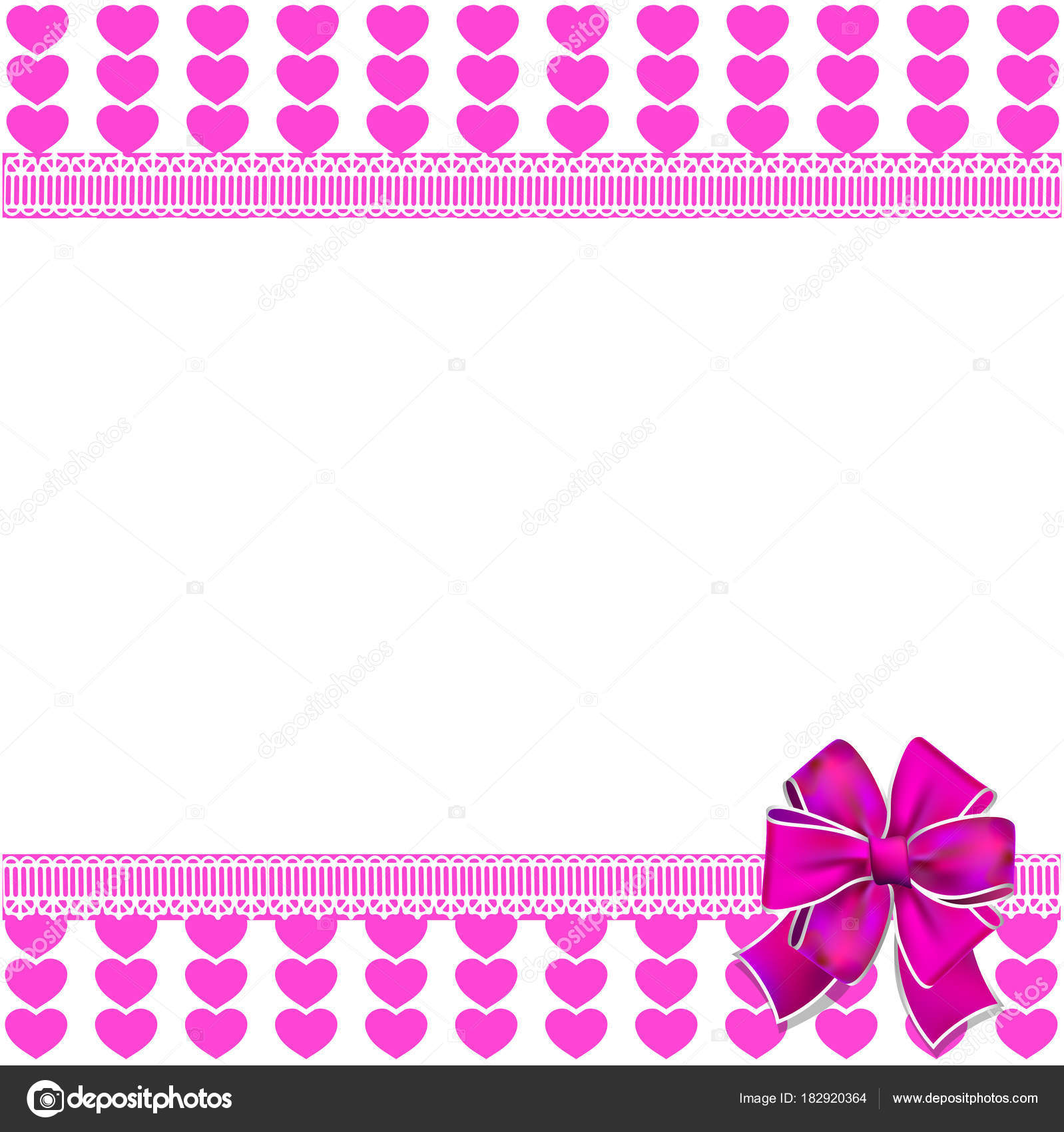 cute elegant template with pink lined hearts pattern space for