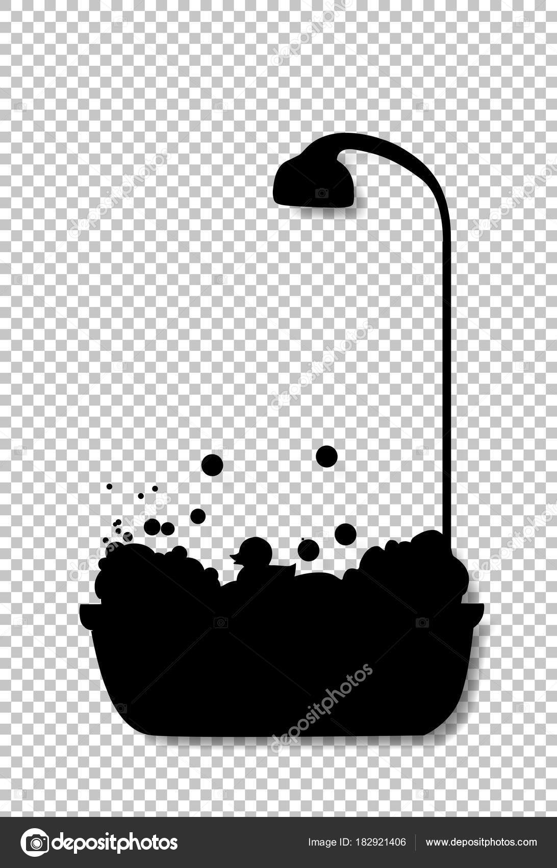 Duschkopf clipart  Schwarze Silhouette Badewanne mit Duschkopf voller Blase Foa ...