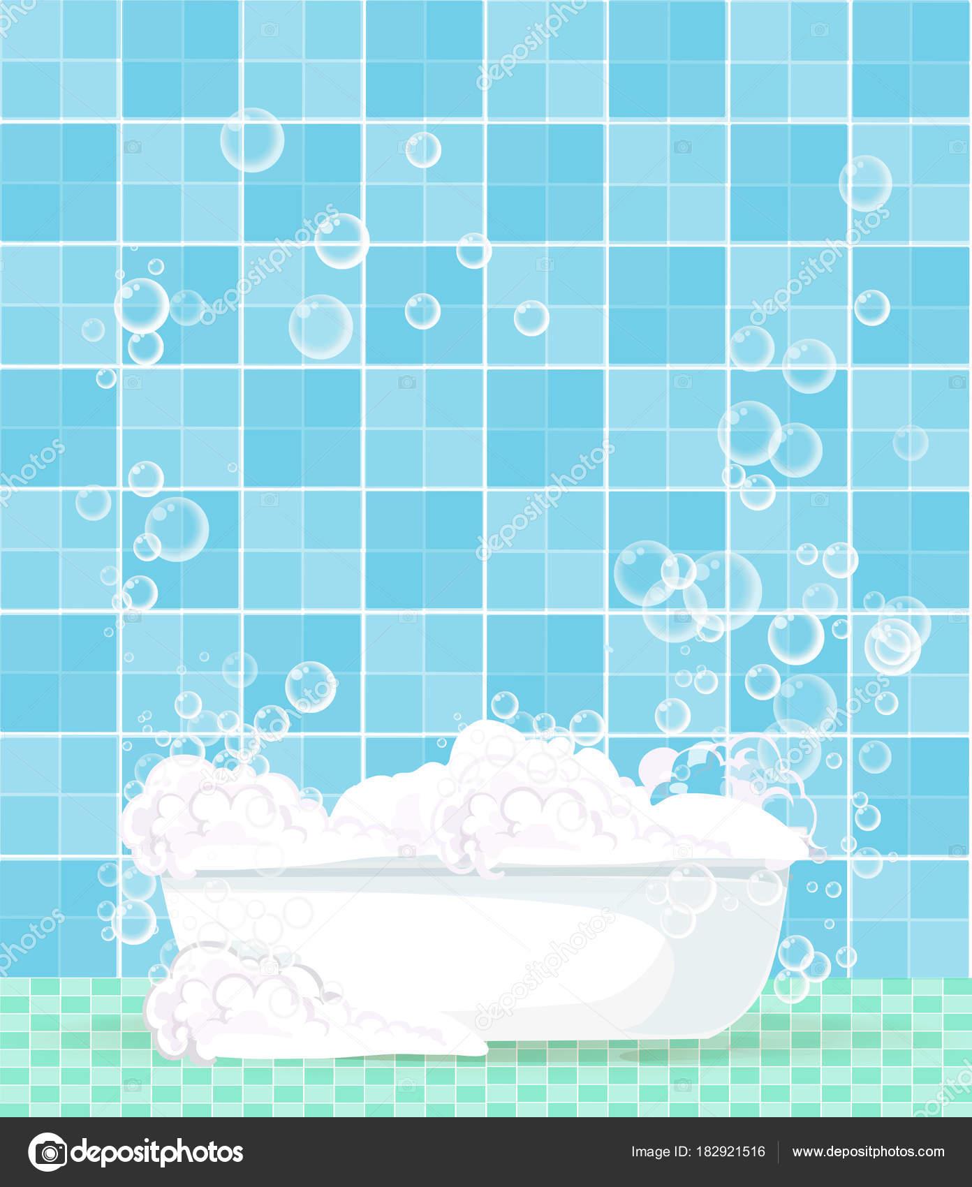 bathtub full of foam with floating soap bubbles 0n blue tiles ...