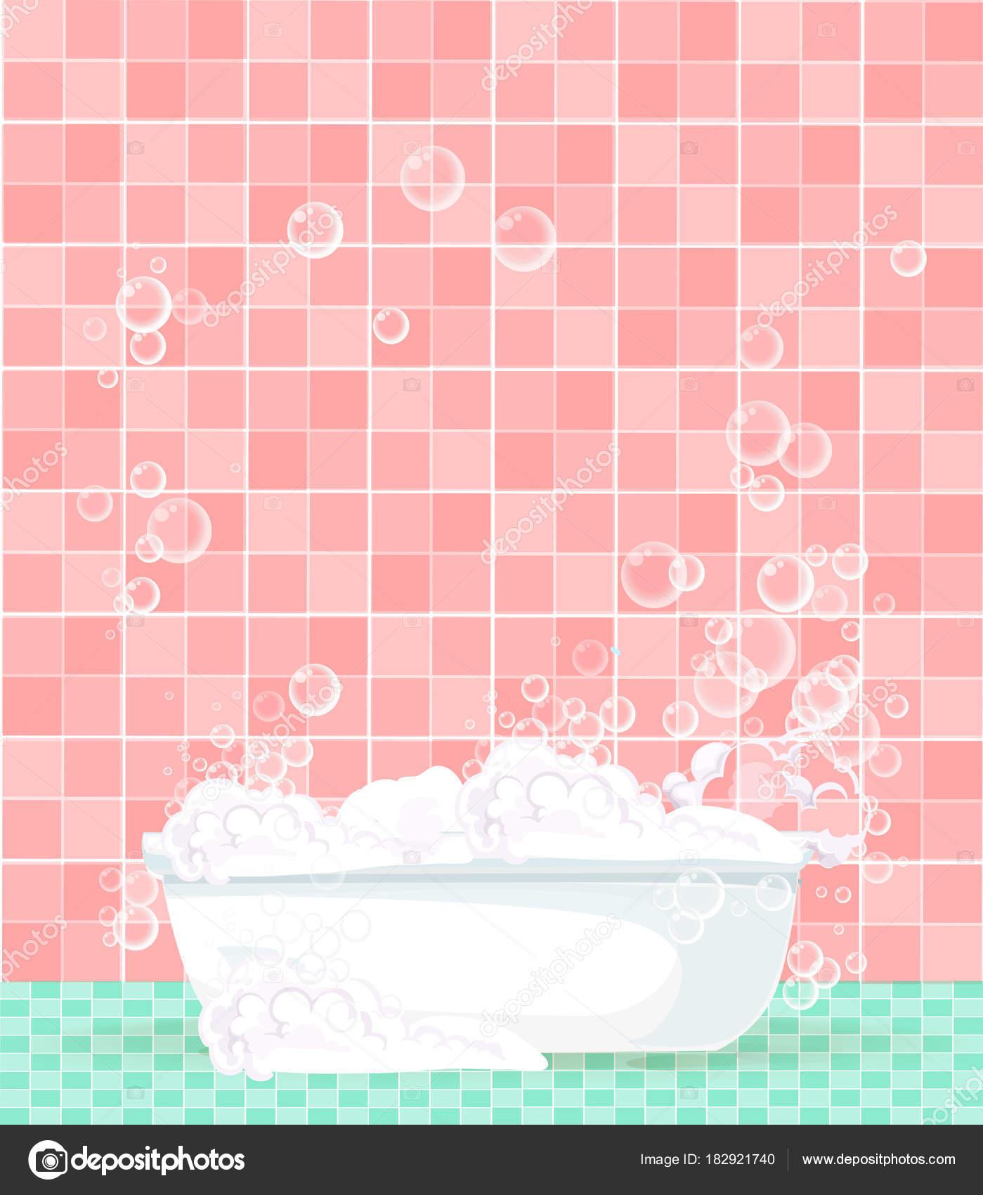 baera de dibujos animados llena de espuma en el fondo de azulejos rosa vector de - Azulejos Rosa