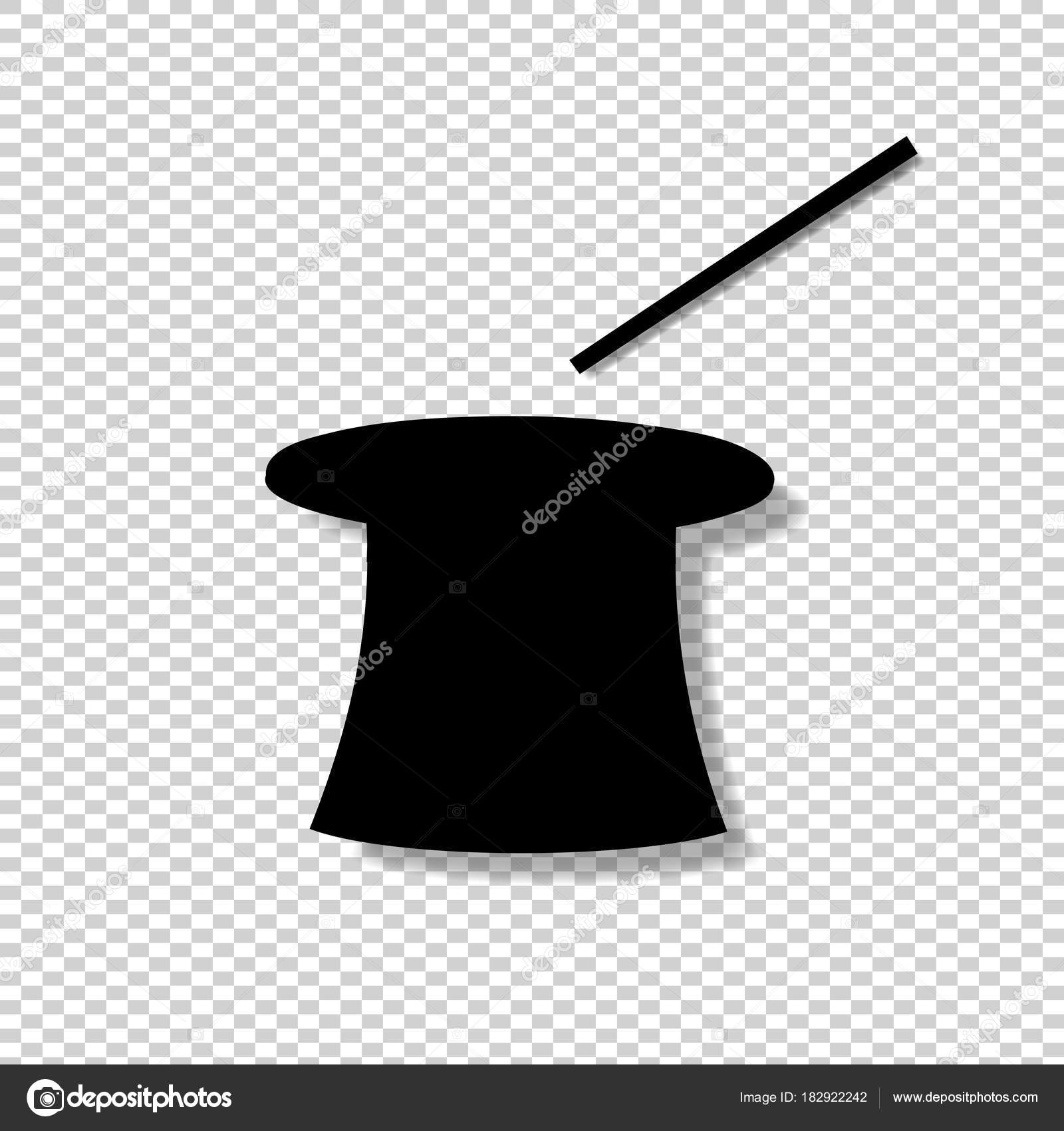 Siluetta nera del cappello a cilindro magico e bacchetta isolato su sfondo  trasparente. Illustrazione vettoriale a9a4f9be7ce2