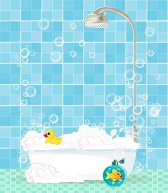 bathtub with foam, shampoo, rubber duck on blue tiled backgroun