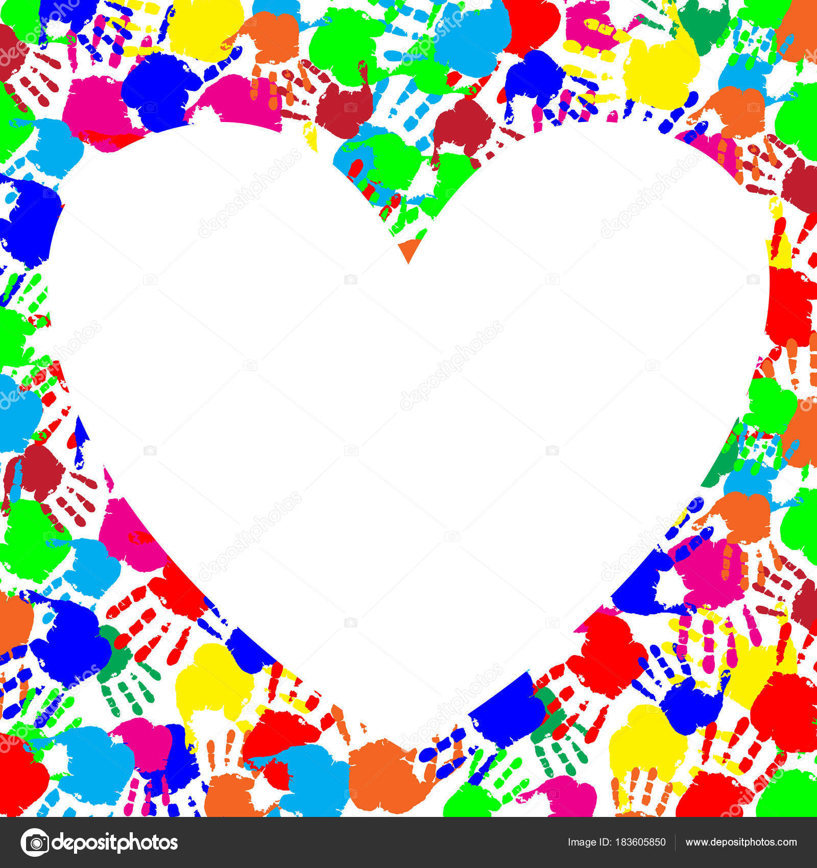 Regenbogen-Rahmen mit textfreiraum in Form von Herz und Hand druckt ...
