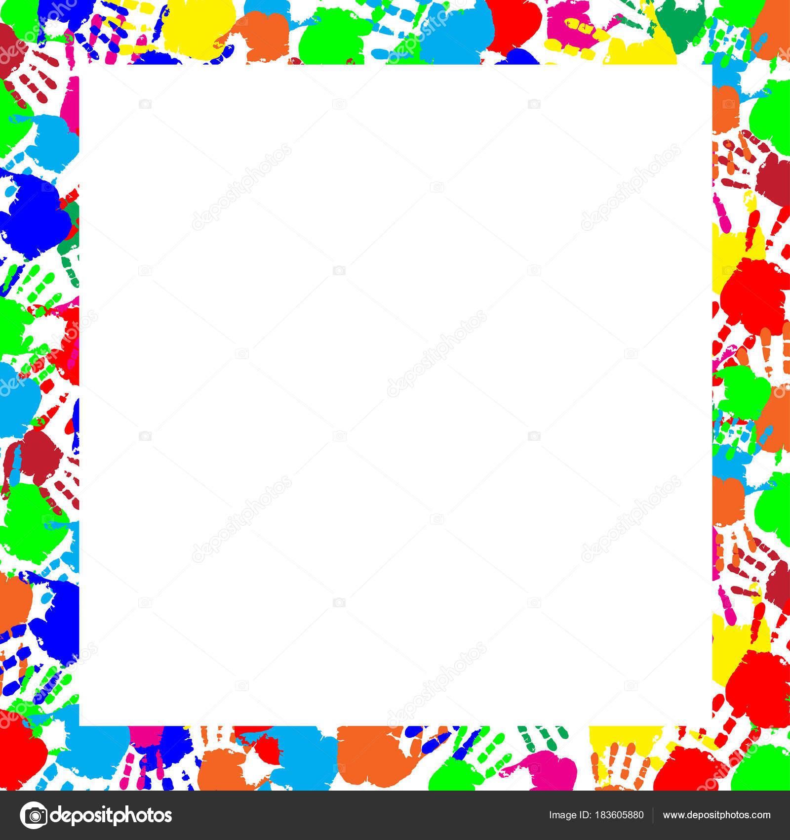 Frontera de huellas multicolor arco iris colorido marco — Archivo ...