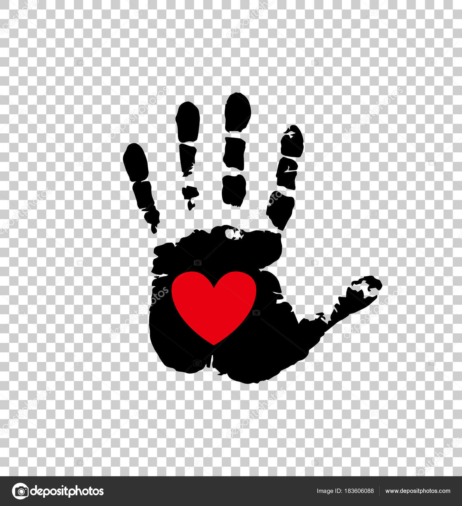Red heart in black palm print isolated on transparent stock black silhouette of humans hand print with heart symbol in open palm isolated on transparent background vector illustration icon logo clip art buycottarizona Gallery