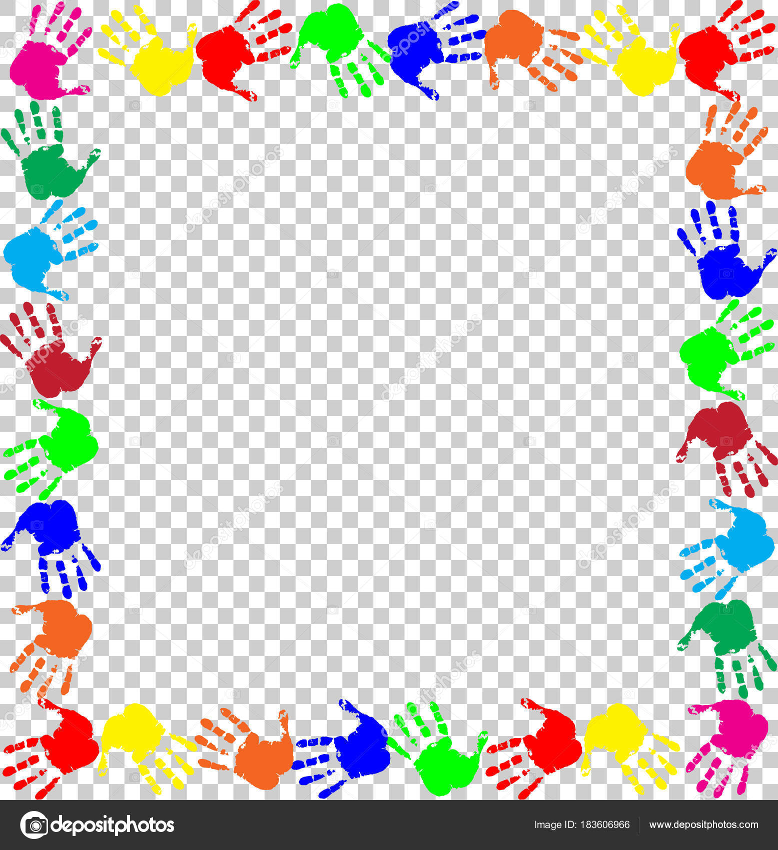 rainbow frame with multicolored handprints border — Stock Vector ...