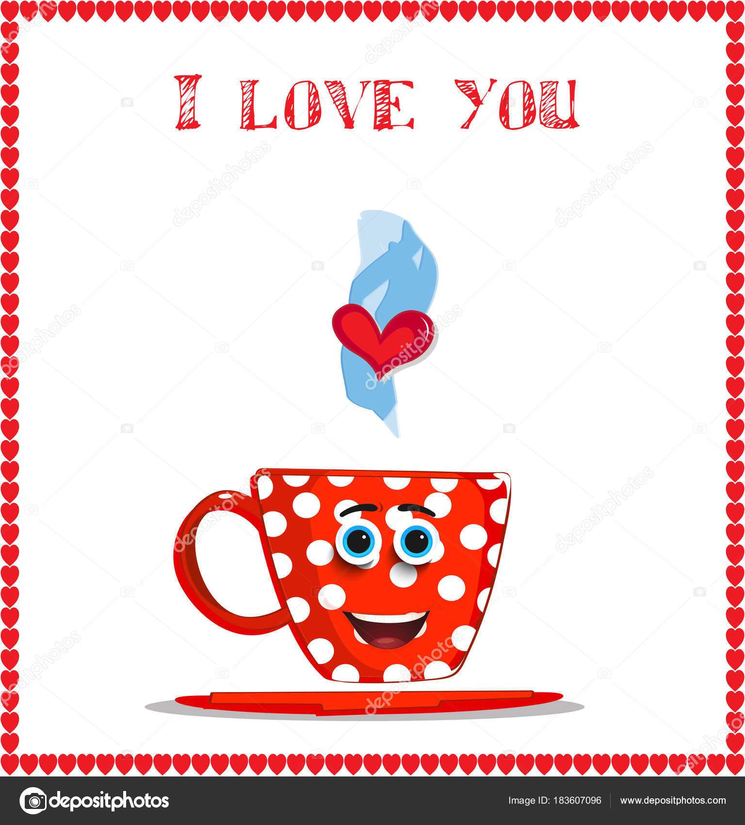 Ich liebe Sie Karte mit netten Lächeln auf den Lippen rote Becher ...
