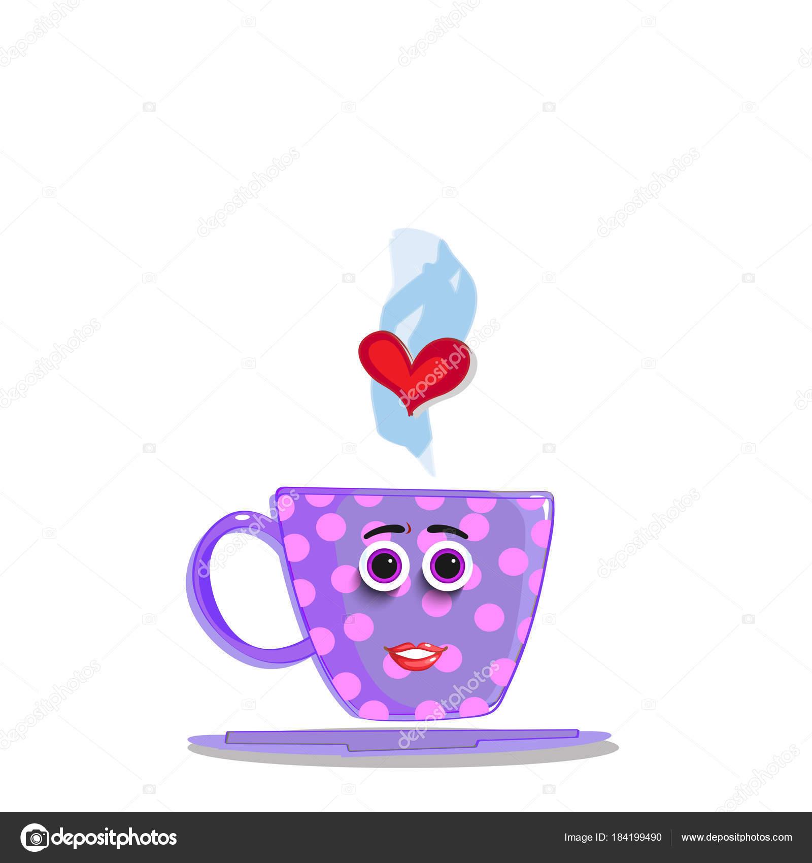 copo bonito dos desenhos animados violeta com rosto de elias vetor
