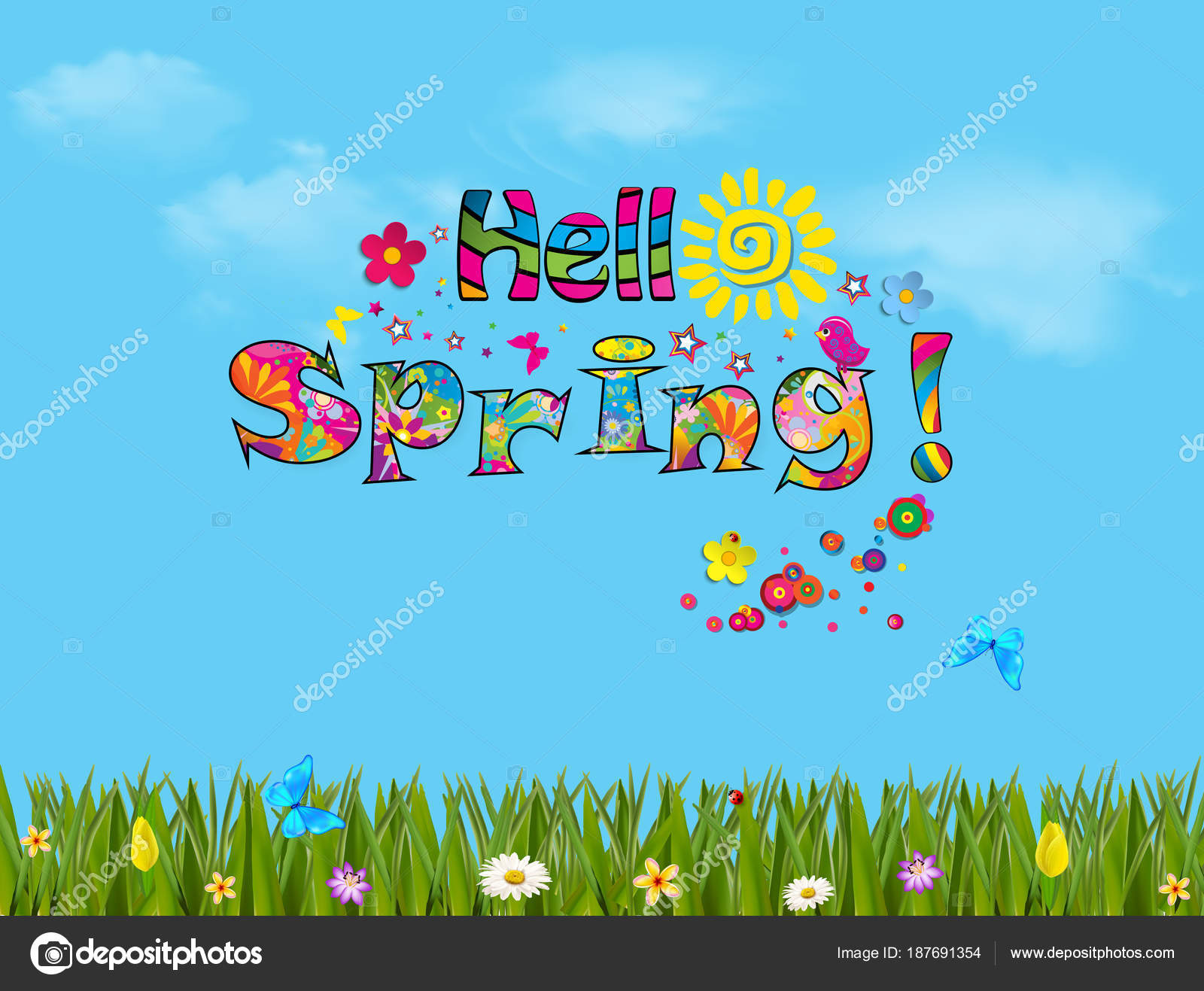 Hello Spring Cartoon Illustration With Beautiful Meadow Stock