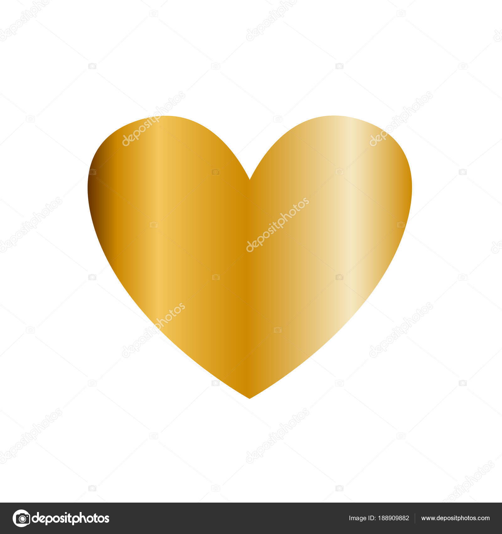 Vector Golden Heart Icon Clip Art Isolated On White Background