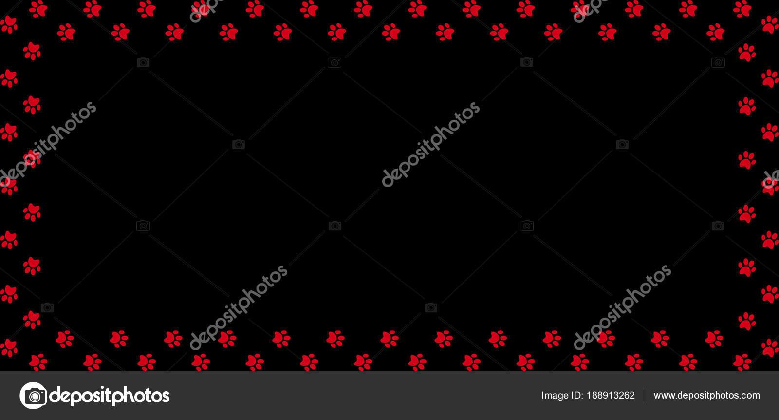 Marco rectangular hecho de impresiones de la pata animal rojo sobre ...