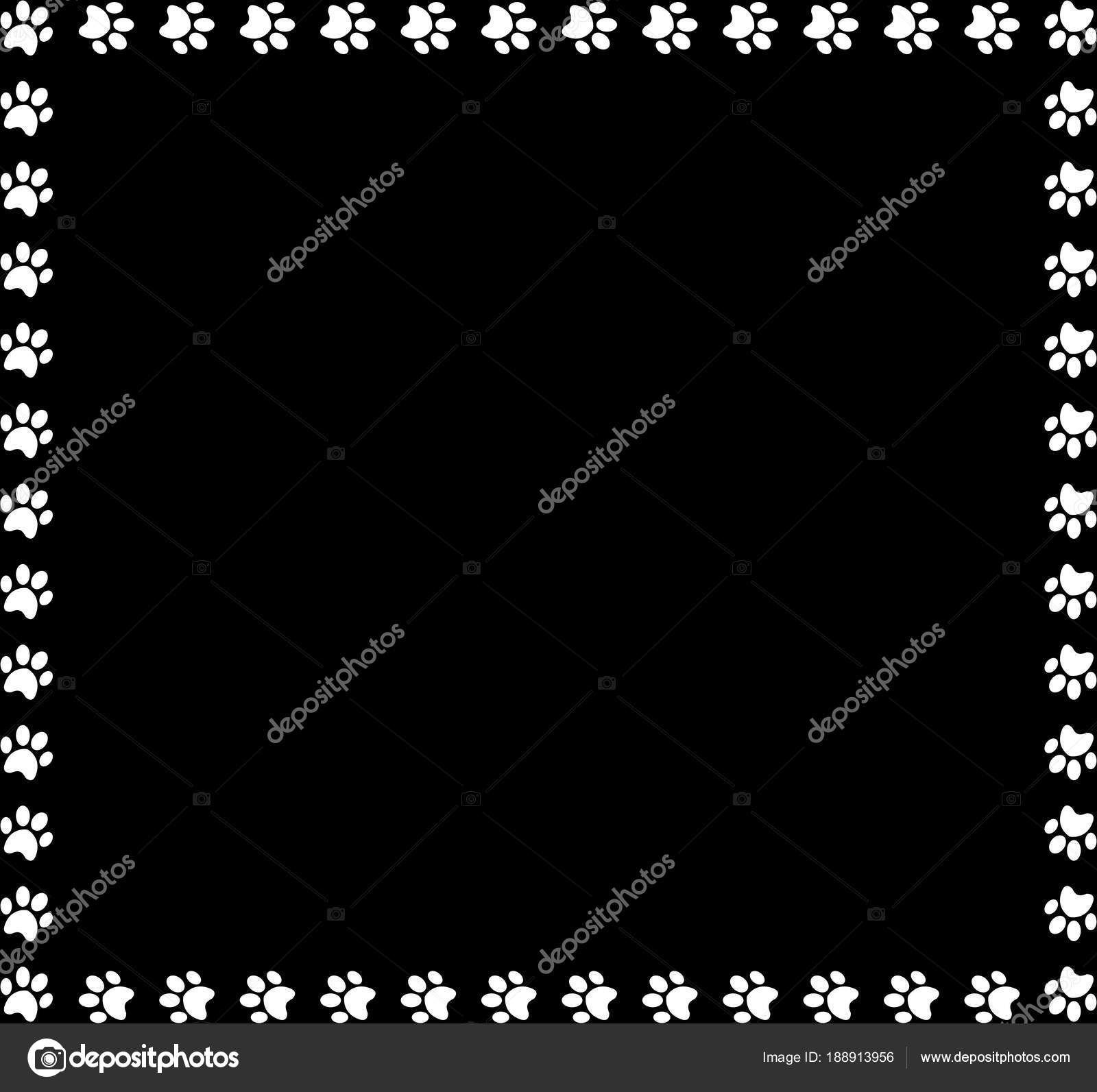 Quadratisches Format gemacht von weißen tierischen Pfotenabdrücke ...