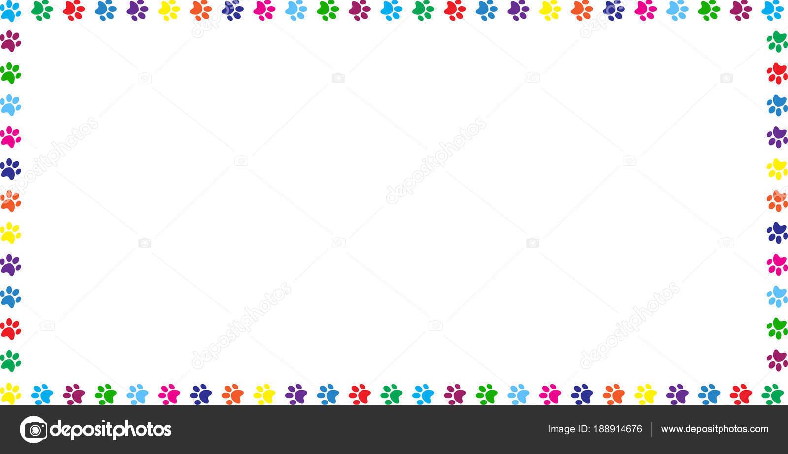 Rechteck-Rahmen aus Regenbogen tierischen Pfotenabdrücke auf weiß ...