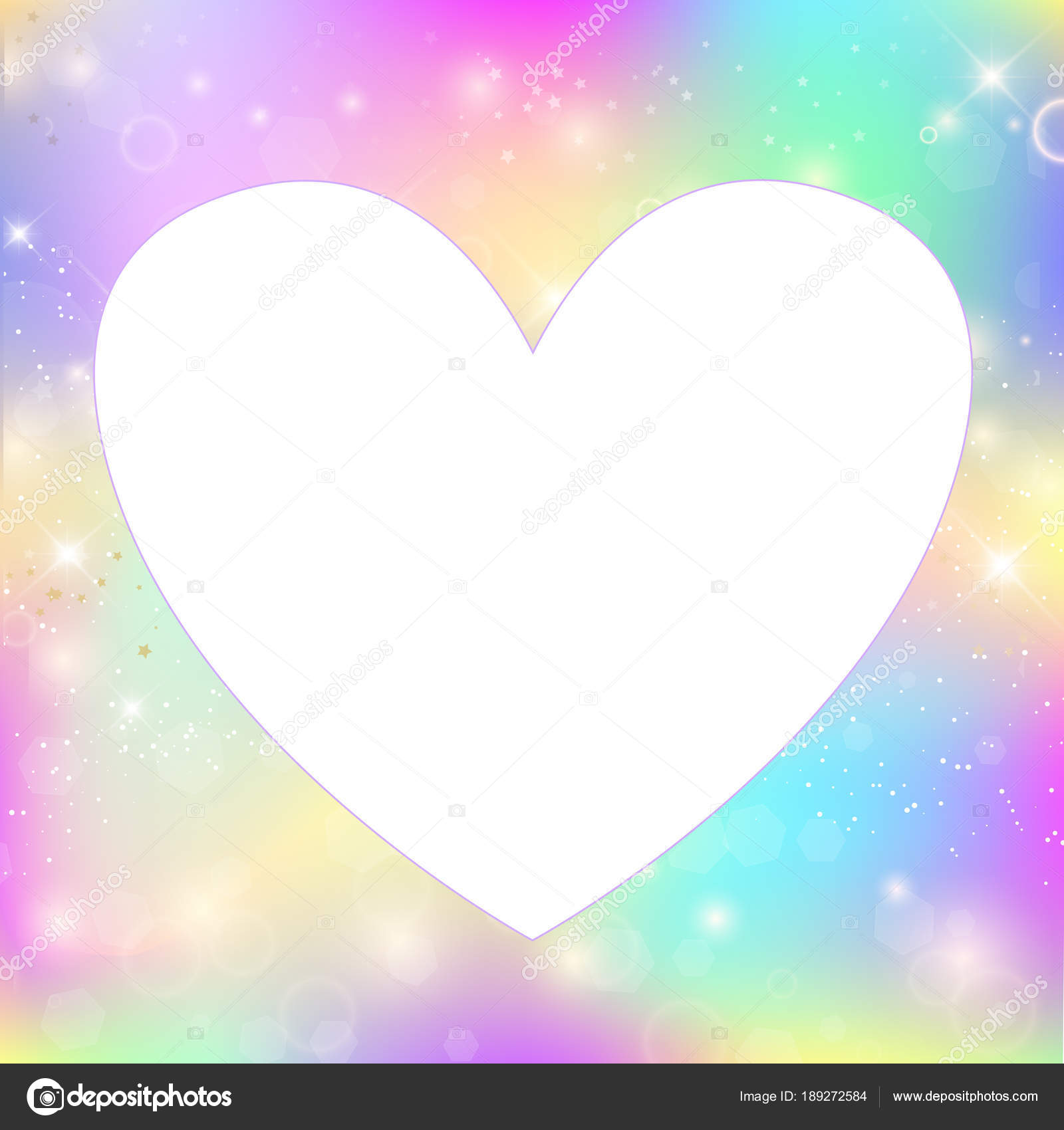 Heart frame magic background with rainbow mesh — Stock Vector ...