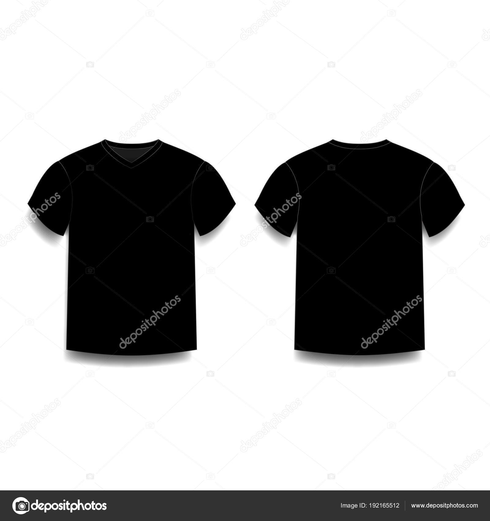 Black Male T Shirt Template V Neck Front And Back Side Views