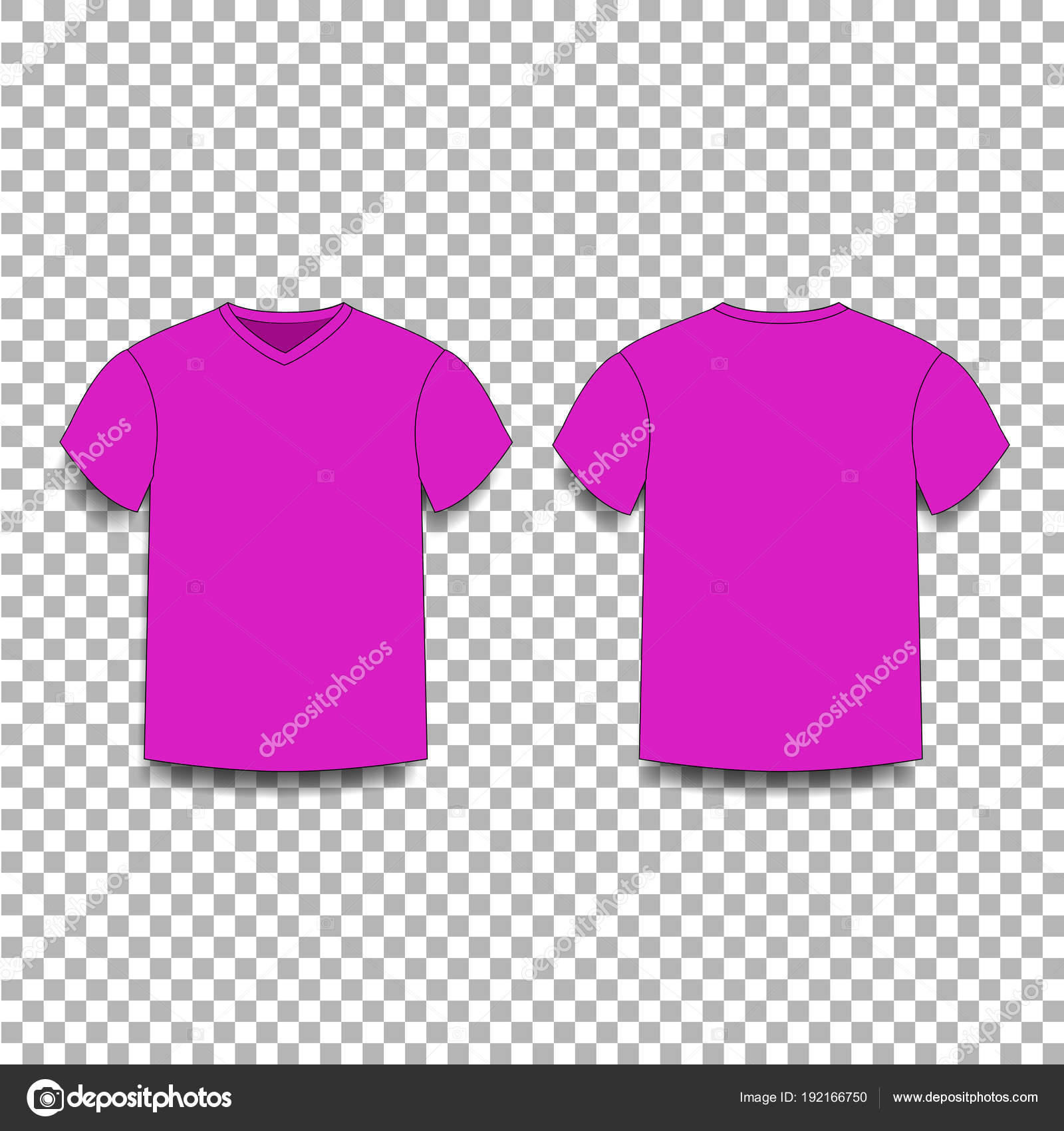 Purple men\'s t-shirt template v-neck front and back side views ...