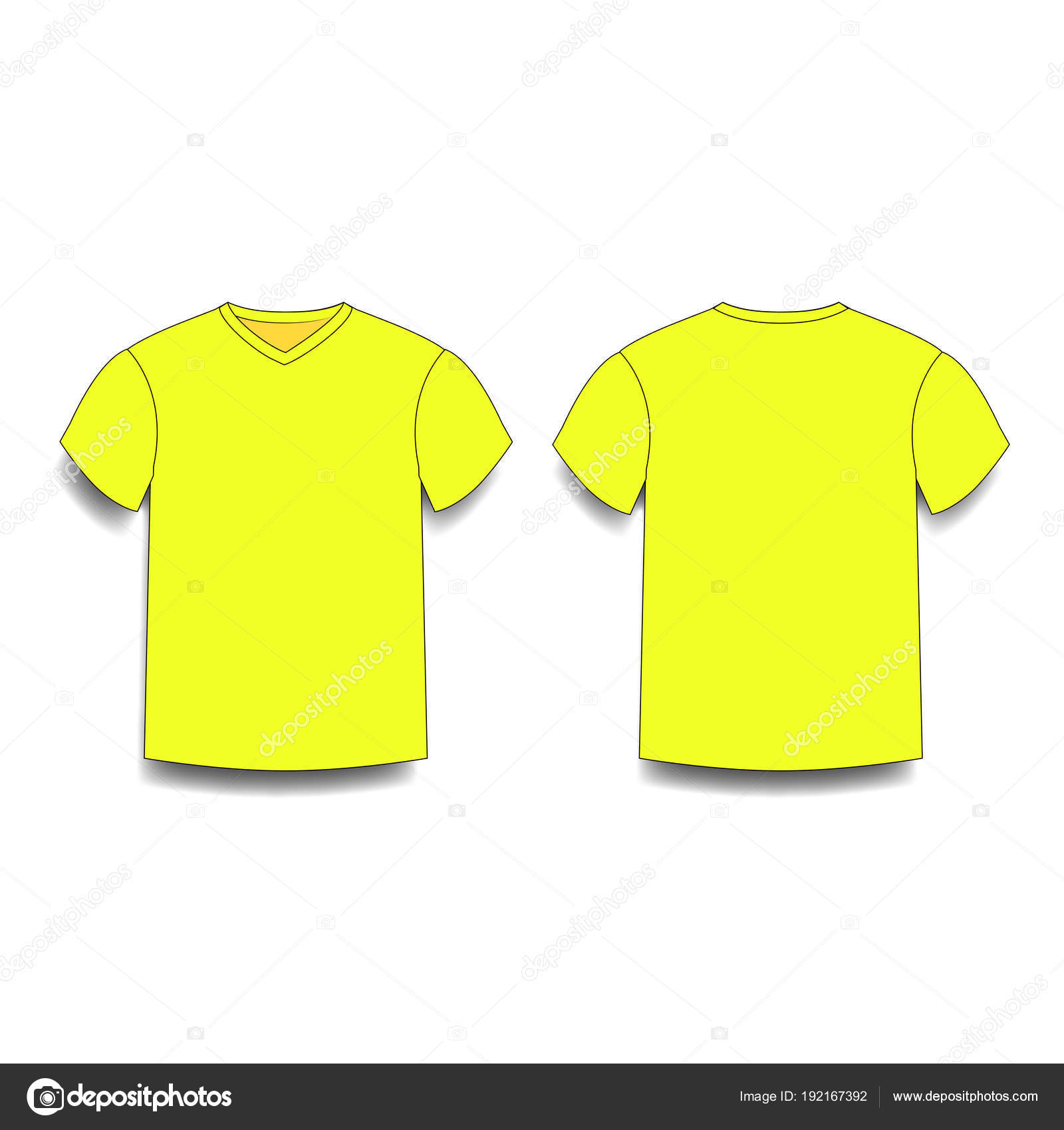 3a6dfbd33975 Yellow men's t-shirt template v-neck front and back side views. Vector of  male t-shirt wearing illustration isolated on white background.