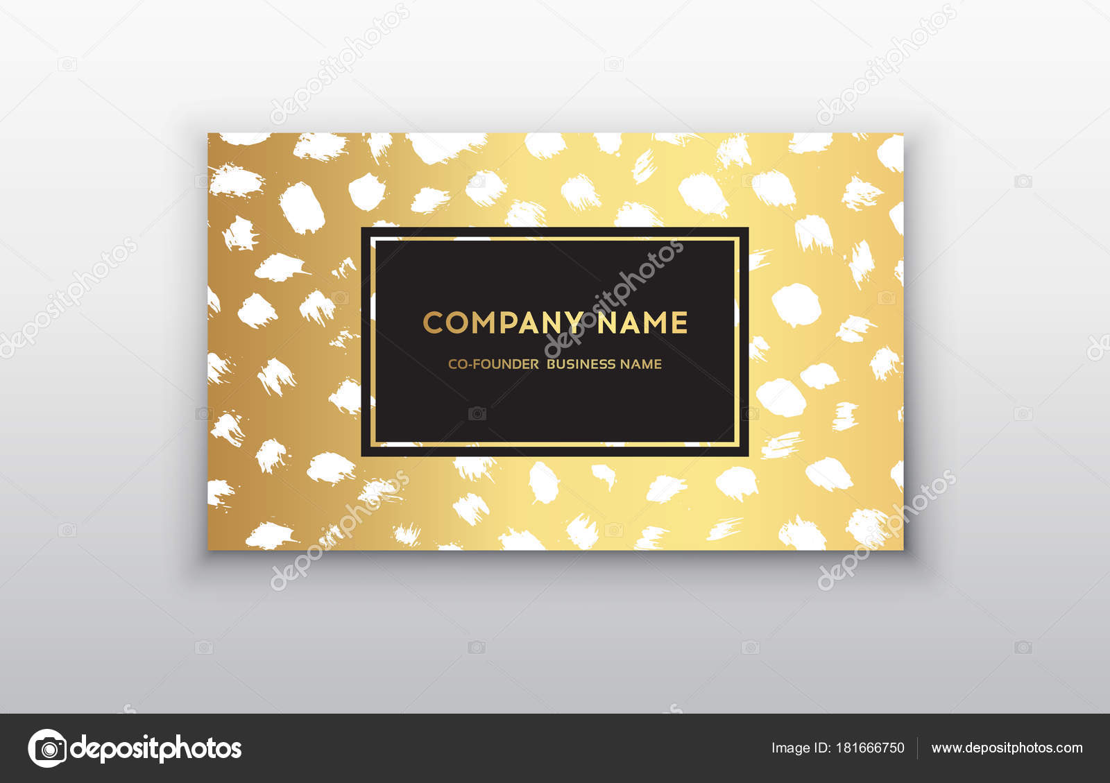 Vector gold business card templates with brush stroke background ...